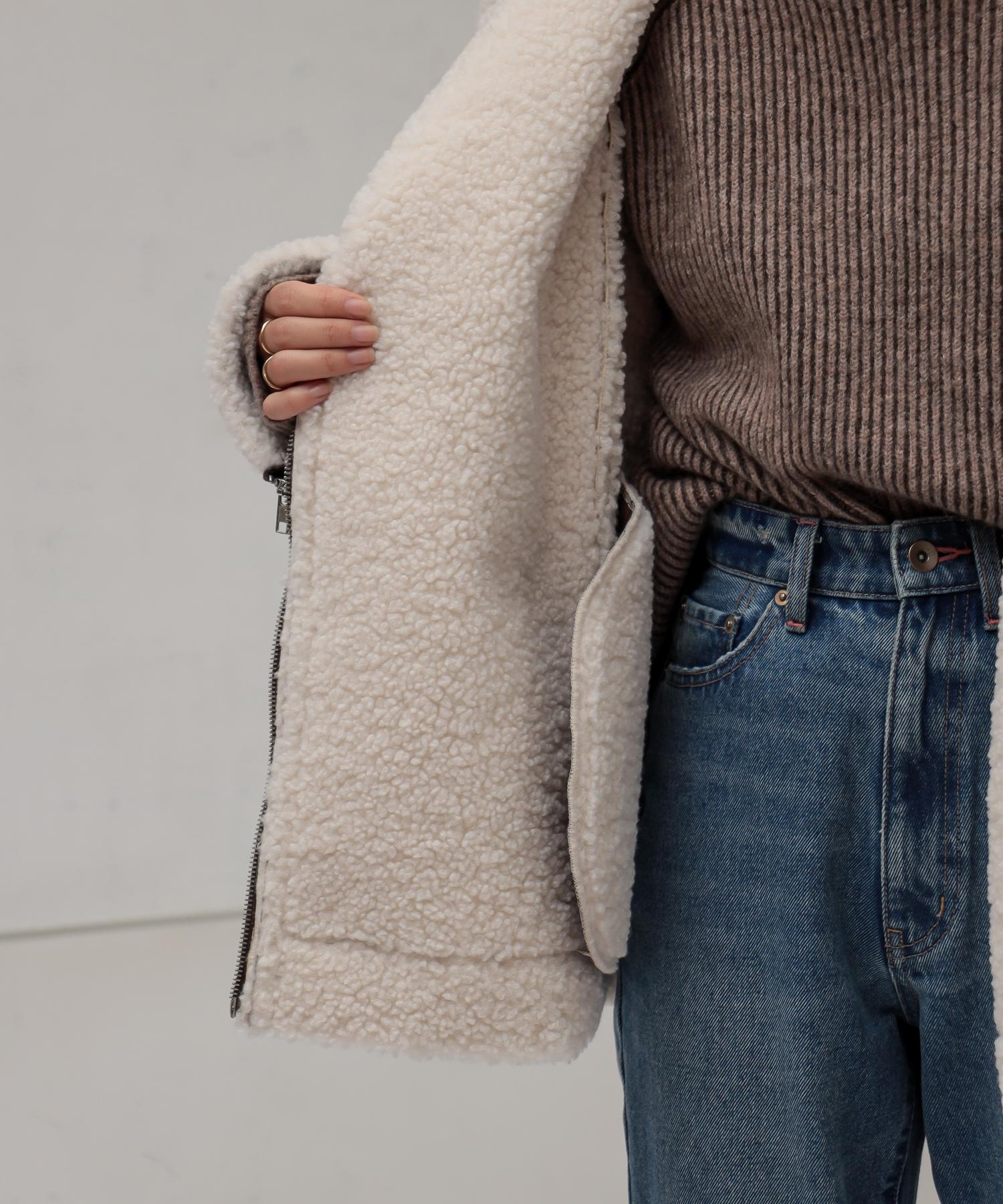 natural couture(ナチュラルクチュール) 【大人ナチュ】ボンディングライダースジャケット