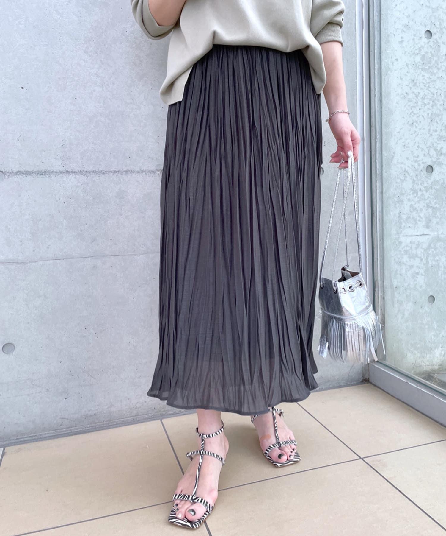 RIVE DROITE(リヴドロワ) 【上品な光沢感が魅力】エスパンディープリーツスカート