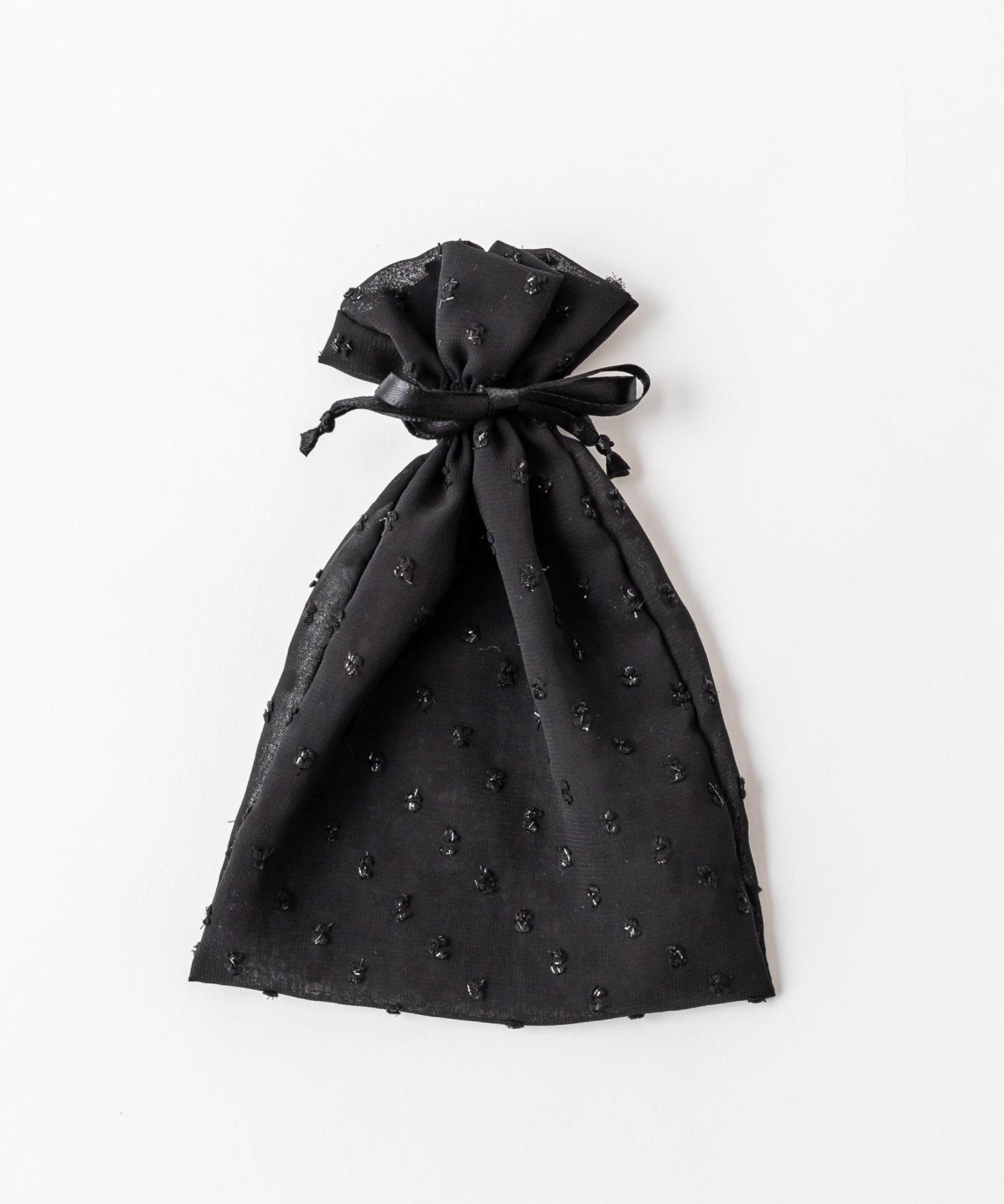 Lattice(ラティス) レディース ドットシフォン巾着ポーチM ブラック