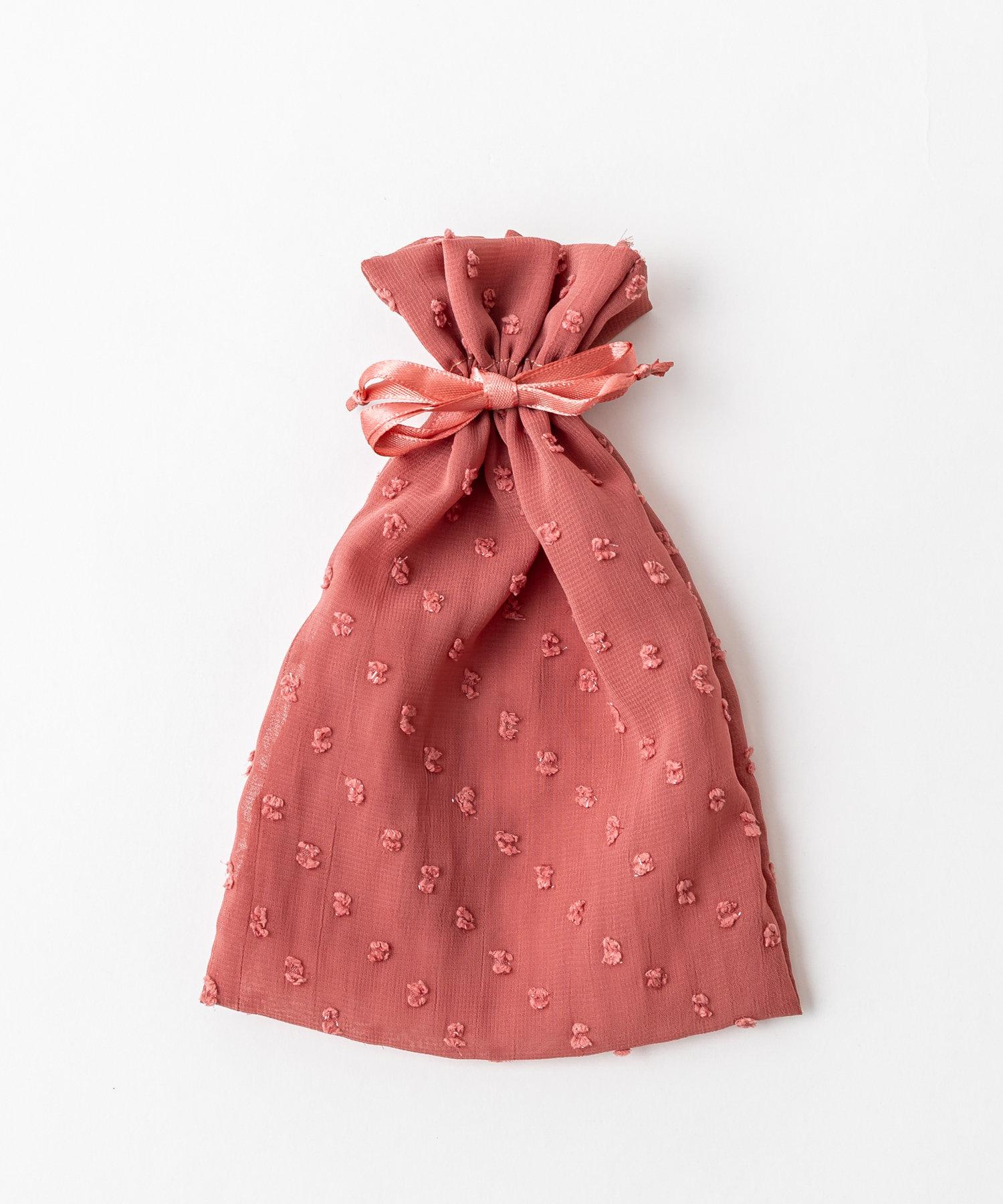 Lattice(ラティス) レディース ドットシフォン巾着ポーチM ピンク