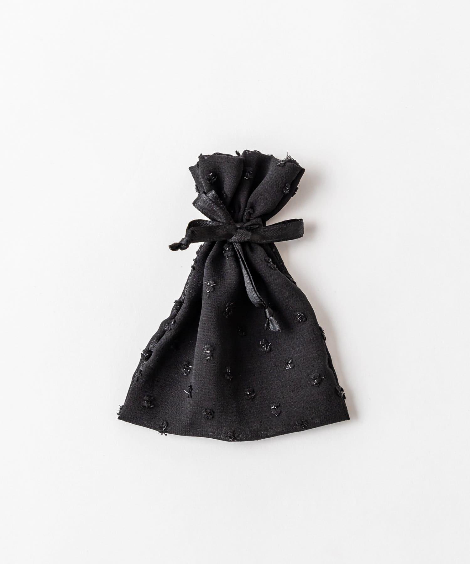Lattice(ラティス) レディース ドットシフォン巾着ポーチS ブラック
