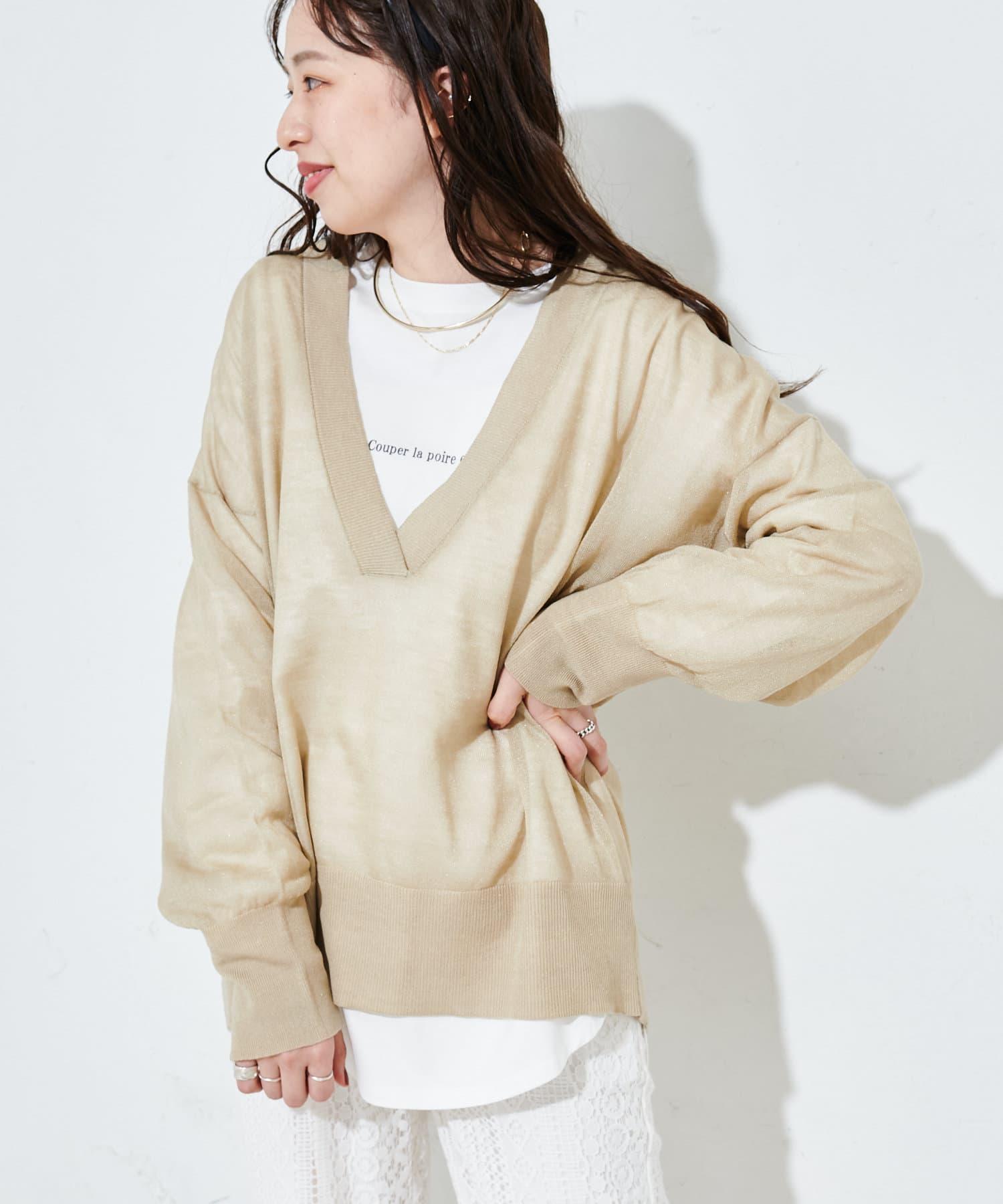 Discoat(ディスコート) レディース 【SET ITEM】シアーニット×ロングTシャツ ライトグレー