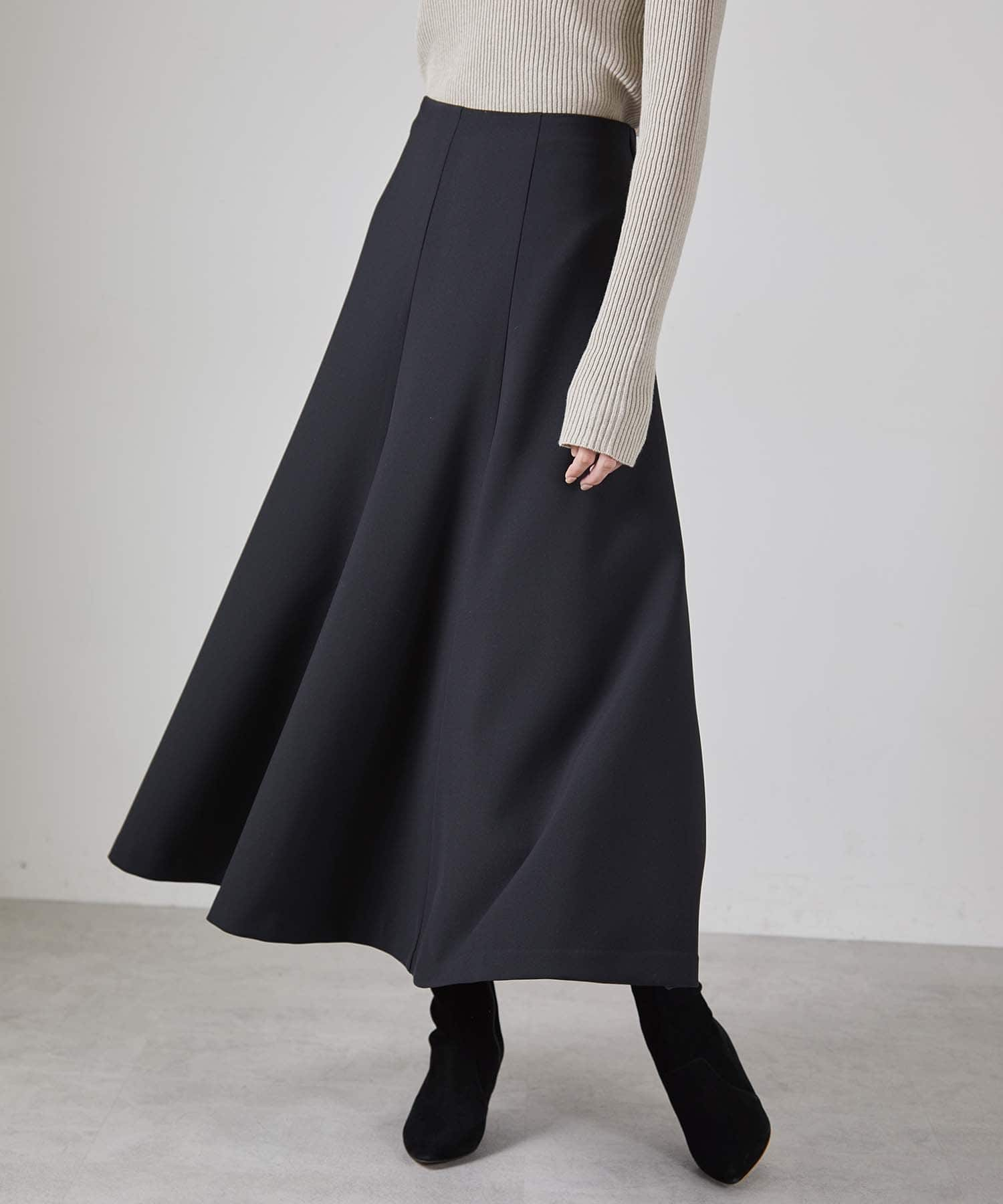 OUVRAGE CLASSE(ウヴラージュクラス) レディース ダブルクロス切替フレアスカート ブラック