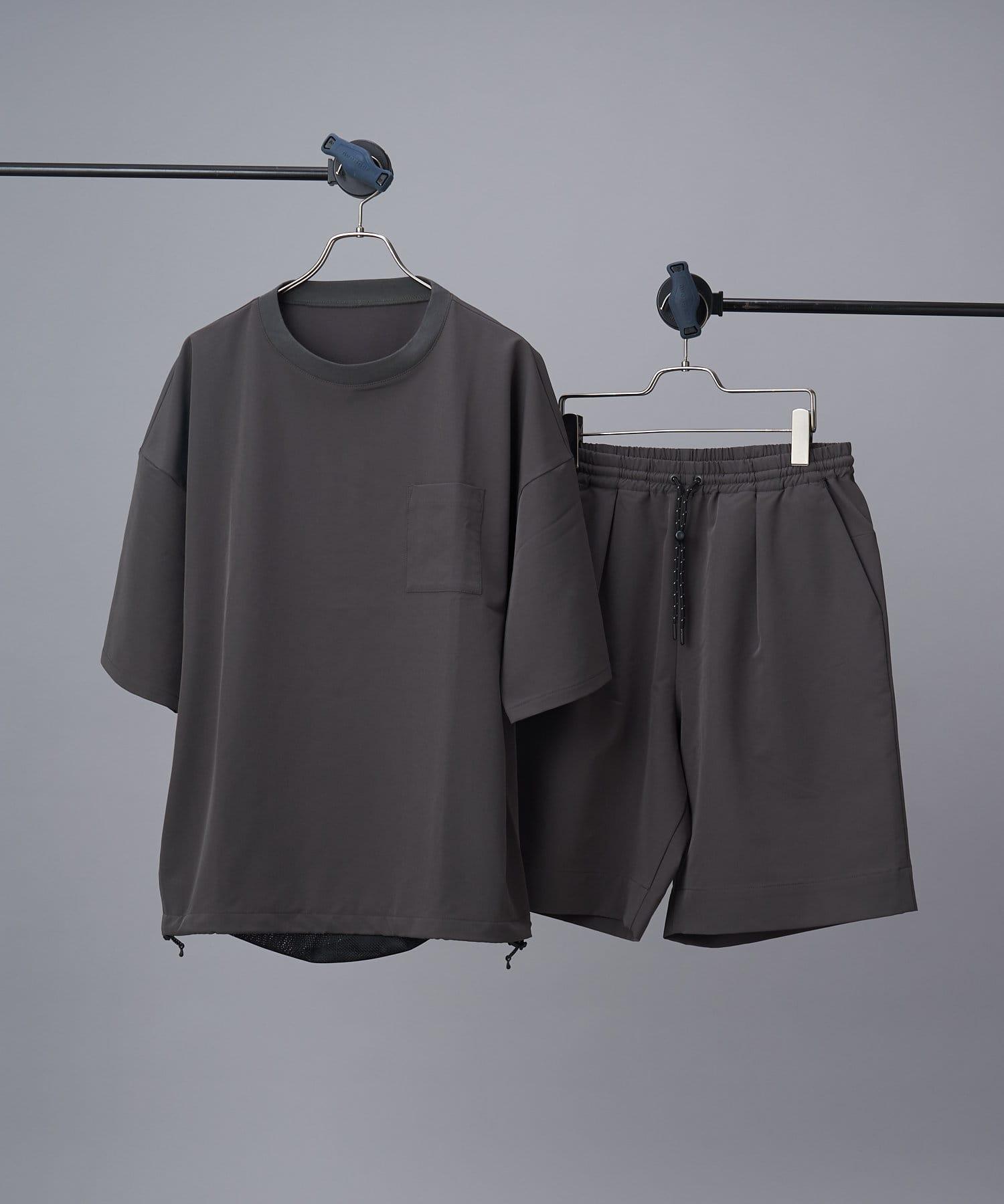 CIAOPANIC(チャオパニック) メンズ 【SHELTECH(R)/シェルテック】ビッグTシャツ+ショーツ/セットアップ グレー