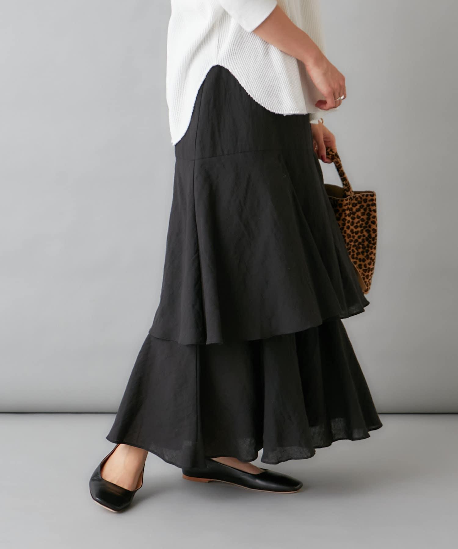 Omekashi(オメカシ) 【新色:チャコールグレー】ティアードロングスカート