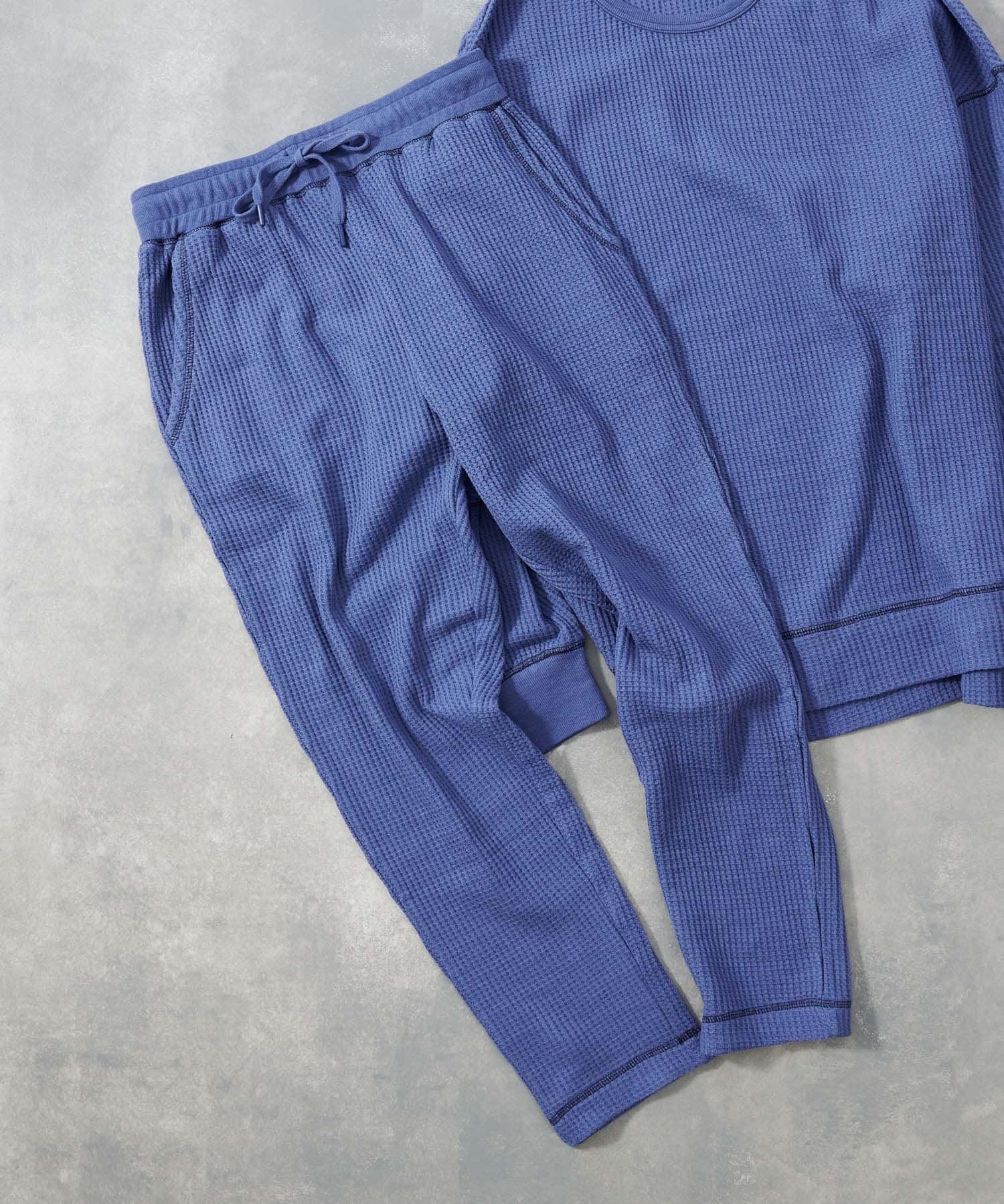 COLONY 2139(コロニー トゥーワンスリーナイン) メンズ 【MEN'S】配色ステッチワッフルロングパンツ/ルームウェア (セットアップ可) ブルー