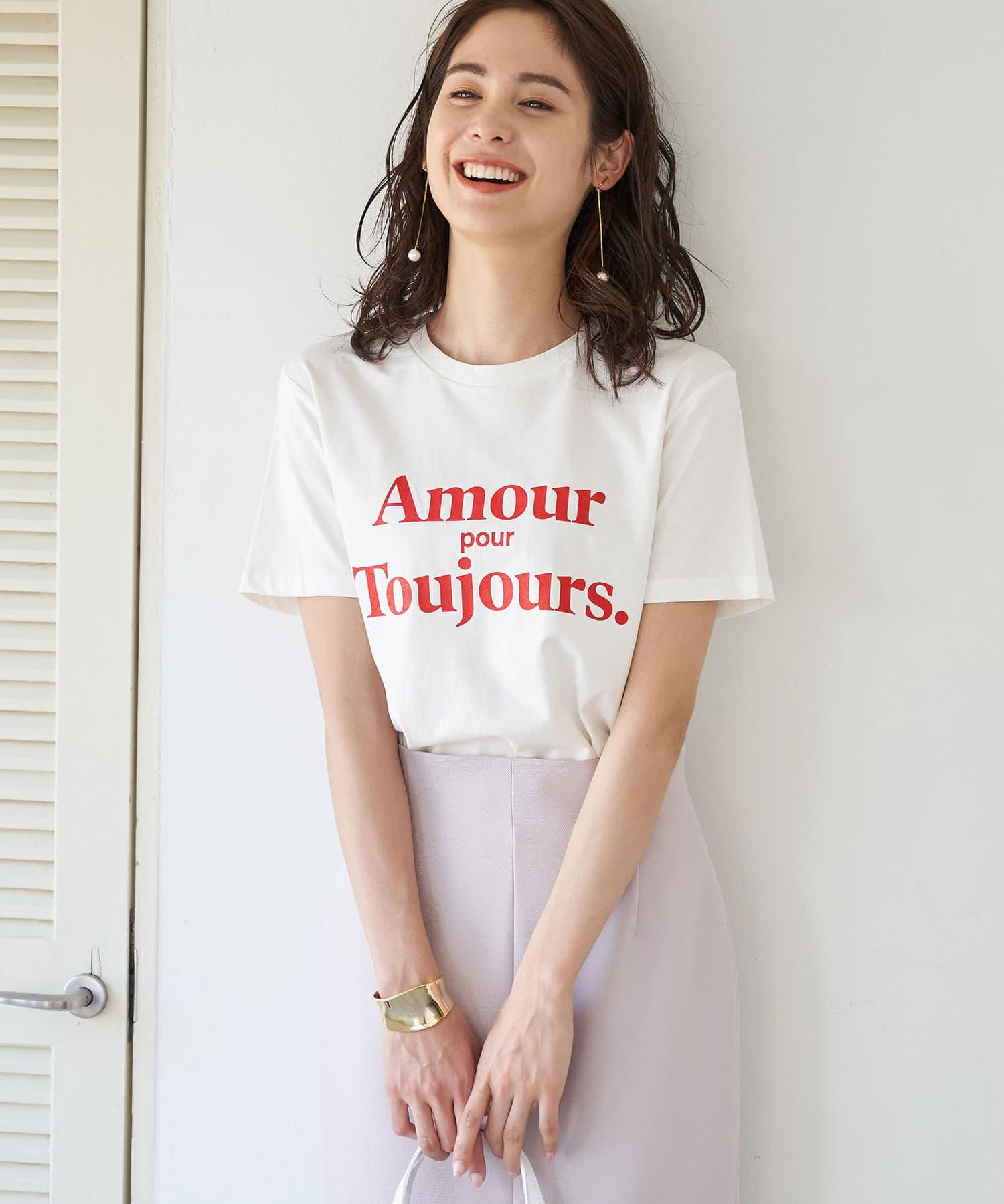 La boutique BonBon(ラブティックボンボン) 【洗える・LES PETITS BASICS】AMOURロゴ Tシャツ