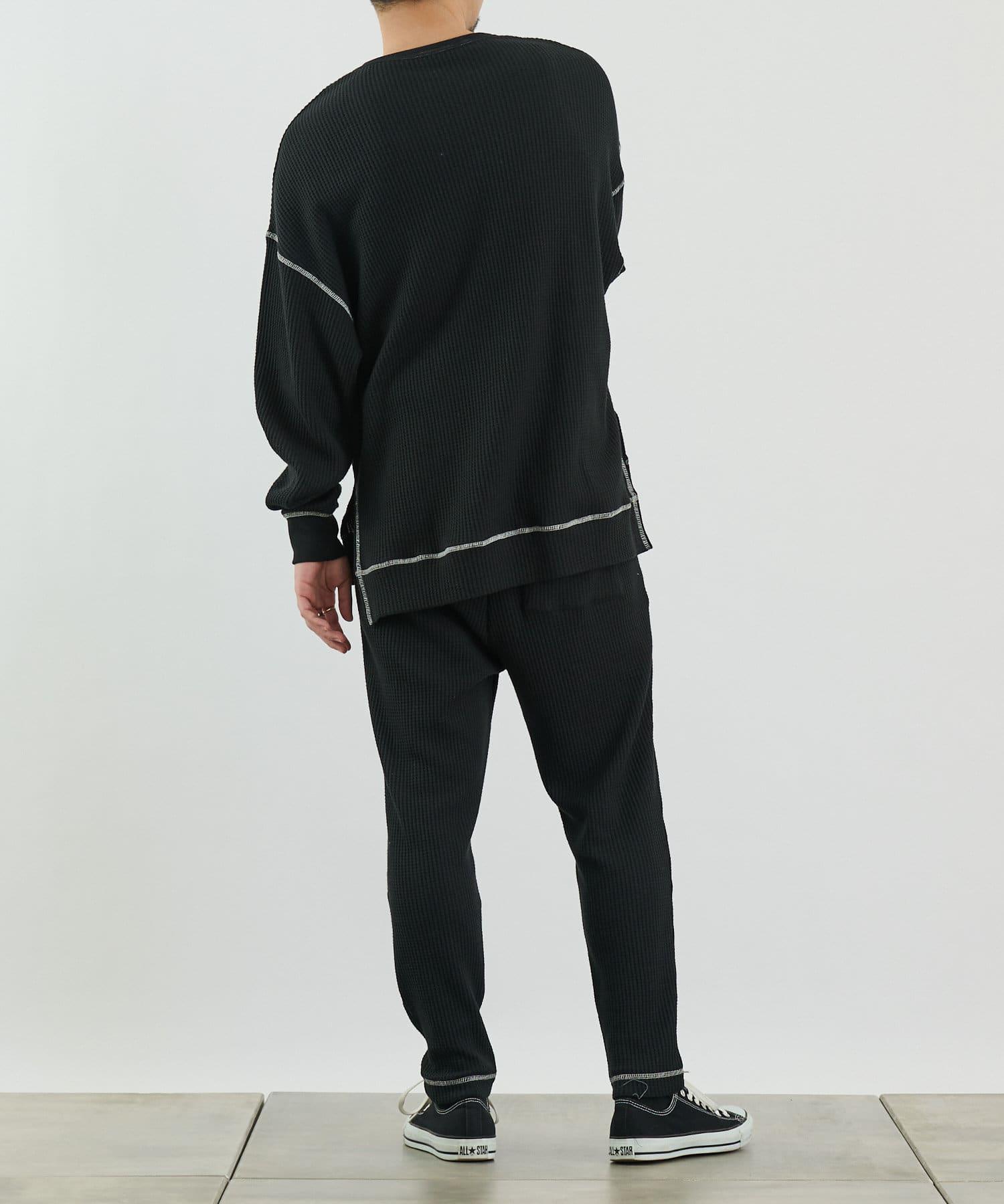 COLONY 2139(コロニー トゥーワンスリーナイン) 【MEN'S】配色ステッチワッフル前後差長袖Tシャツ/ルームウェア
