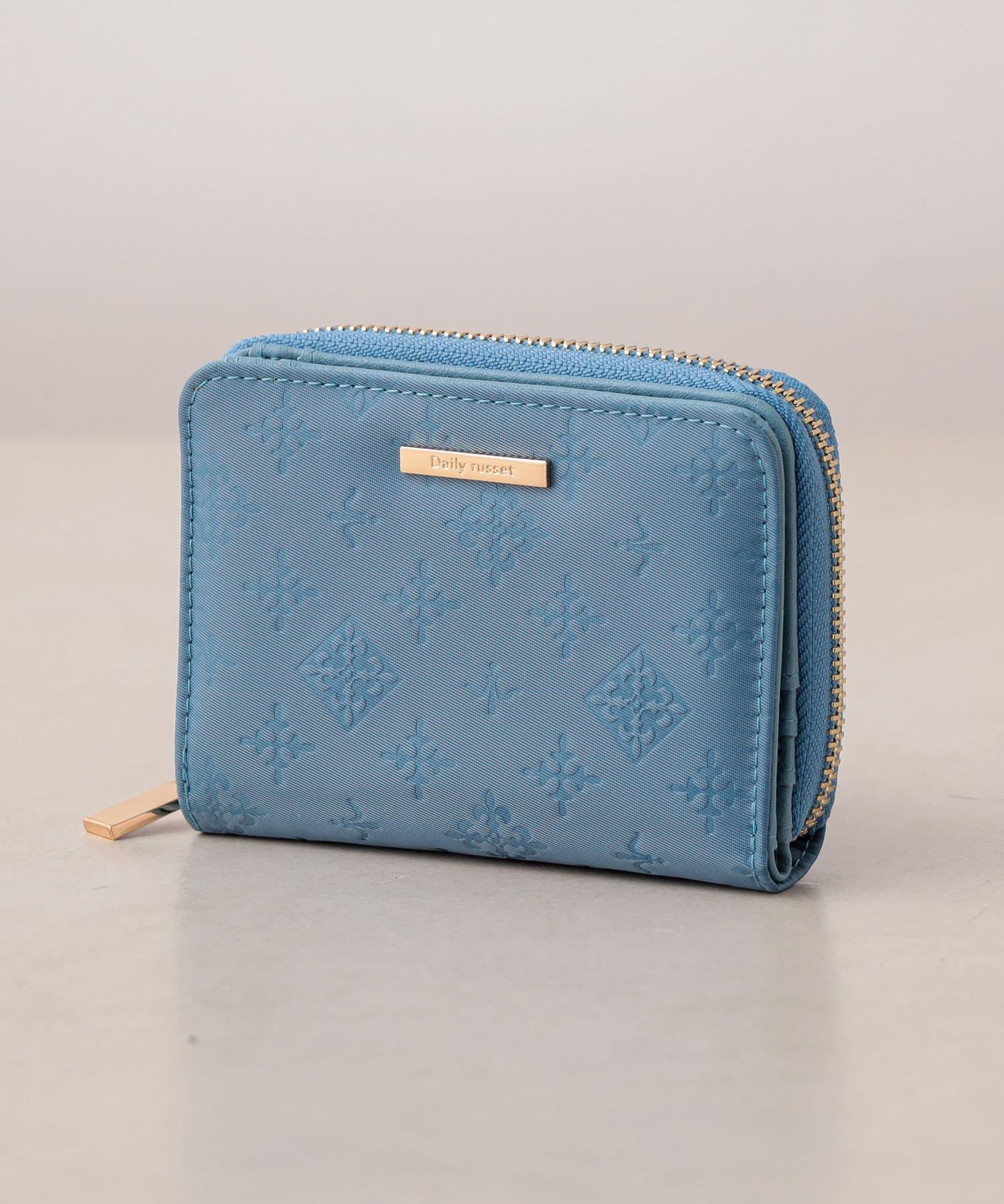 Daily russet(デイリー ラシット) Daily russet(デイリー ラシット) 裏張りナイロン型押し 二つ折り財布 ブルー