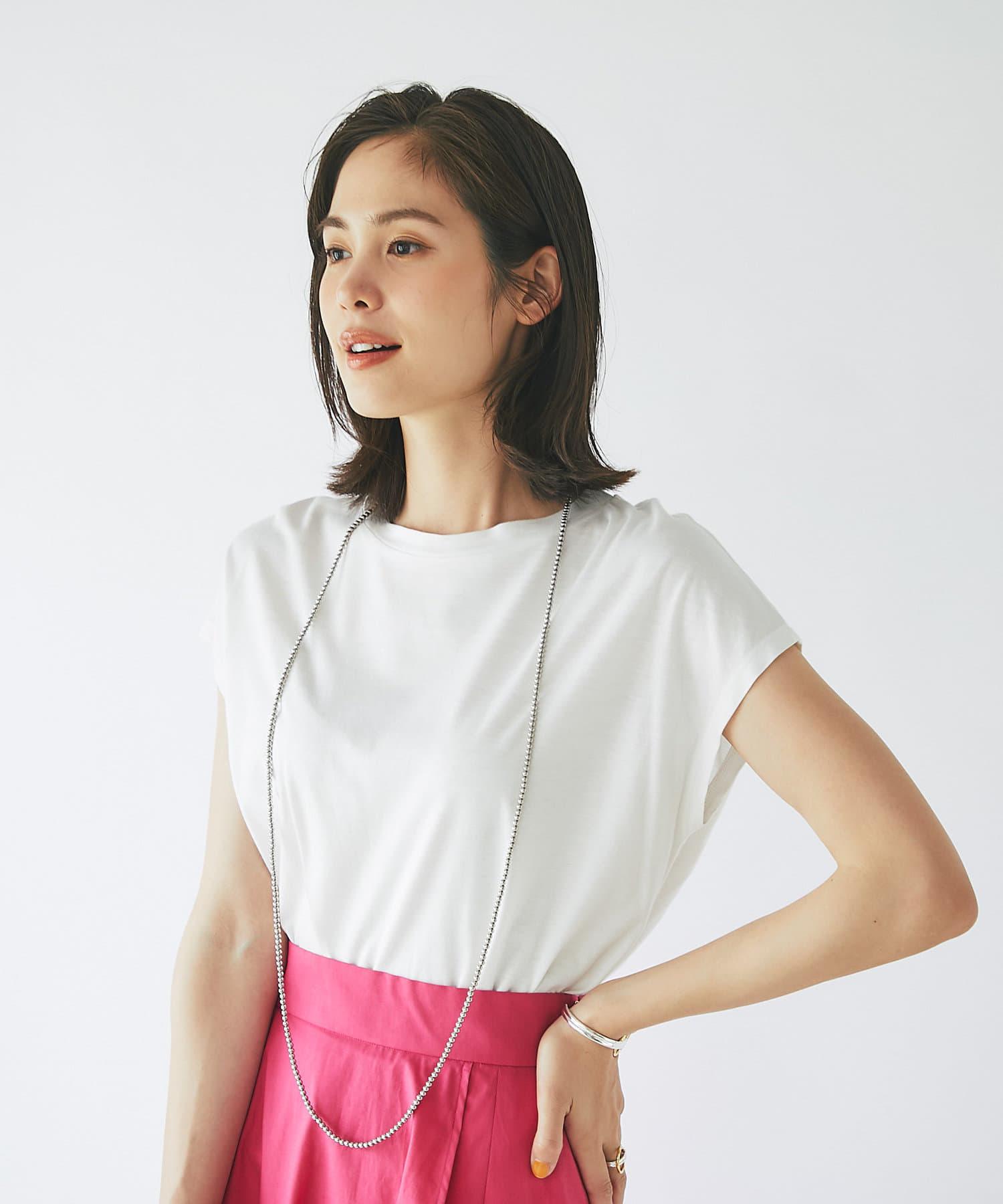La boutique BonBon(ラブティックボンボン) 【手洗い可】リヨセル混フレンチTシャツ