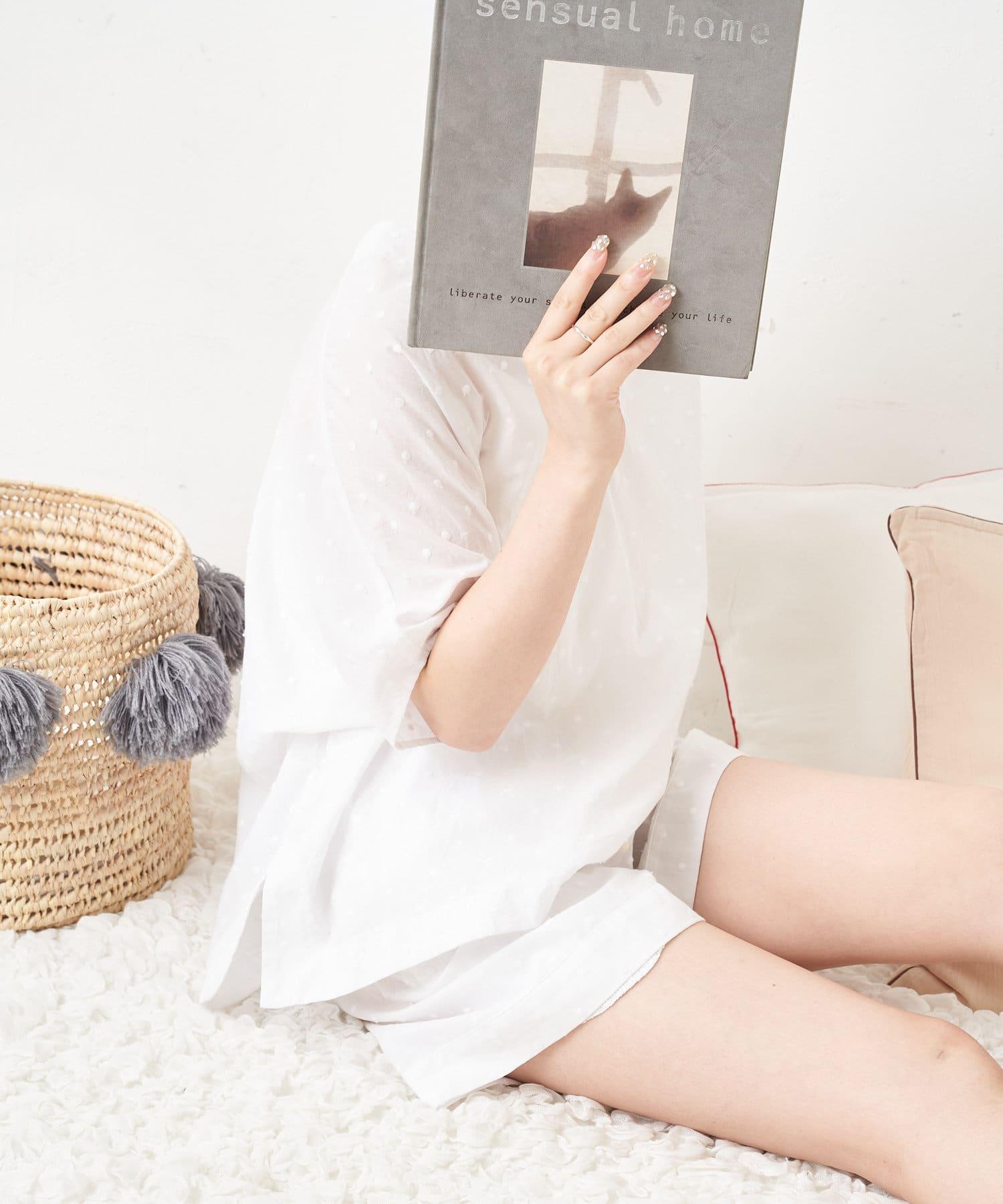 TERRITOIRE(テリトワール) 【サマーコットン】ドット刺繍ふんわりルームウェア 上下セット