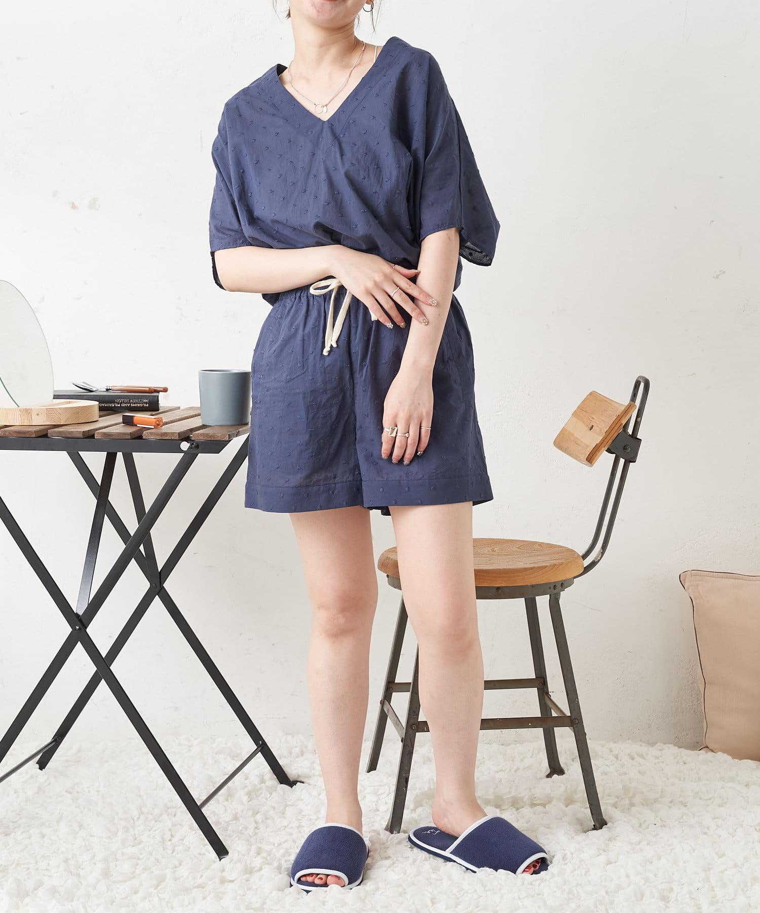 TERRITOIRE(テリトワール) 【コットン100%】ドット刺繍 ルームウェアセット