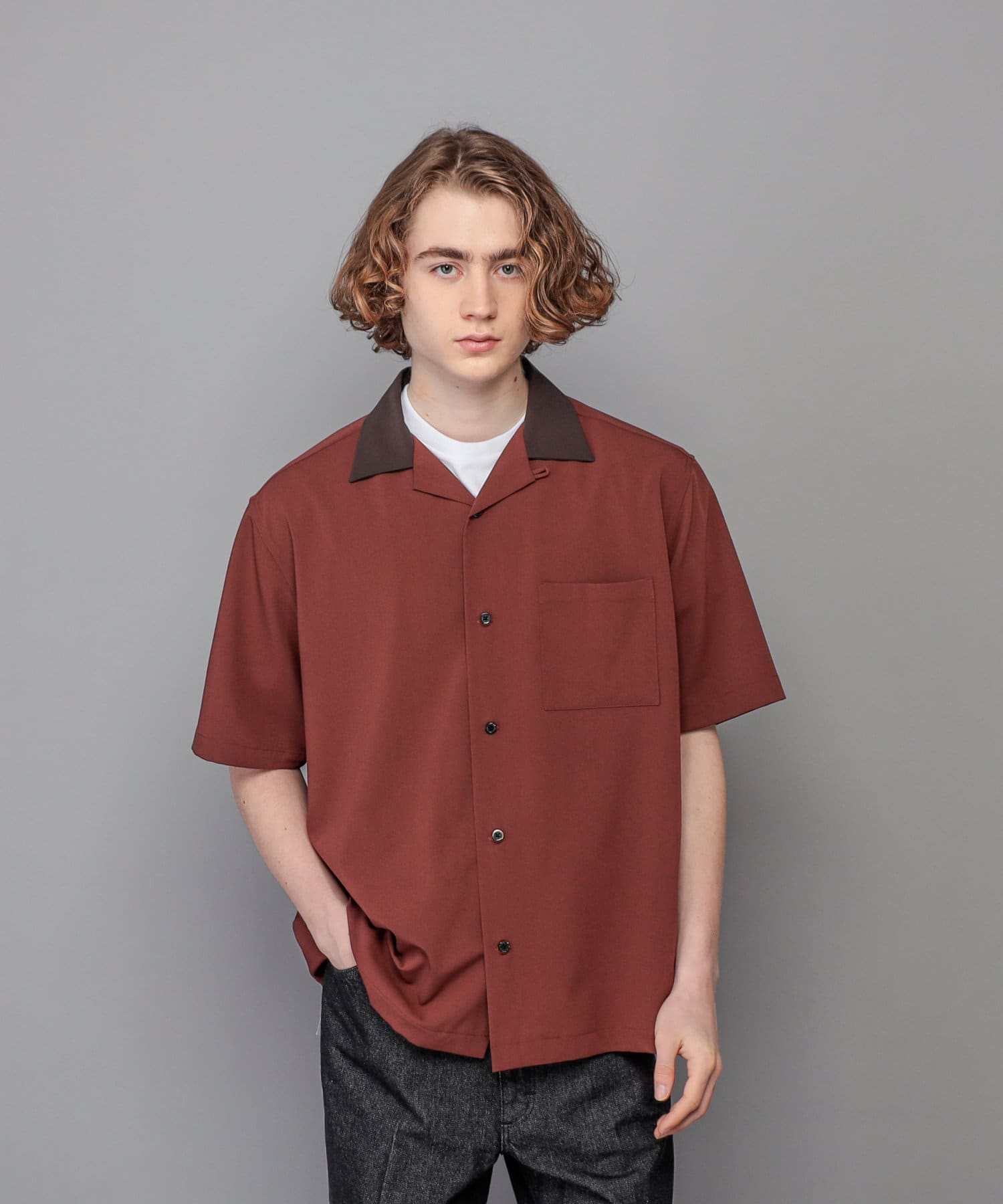 CIAOPANIC(チャオパニック) TRストレッチツイル襟切り替えオープンカラーシャツ