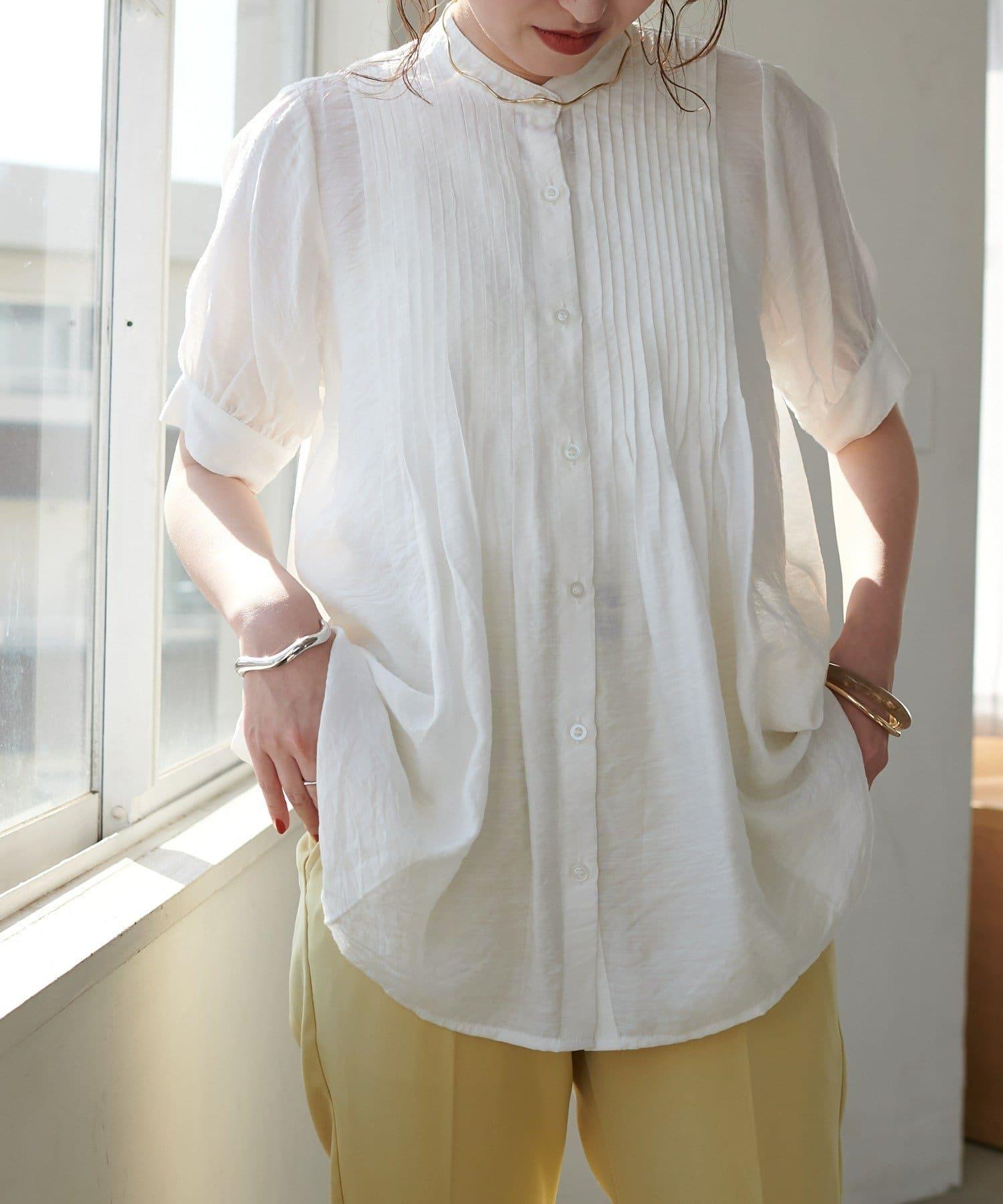 Discoat(ディスコート) 【WEB限定】ピンタック半袖ブラウス≪新色追加!≫