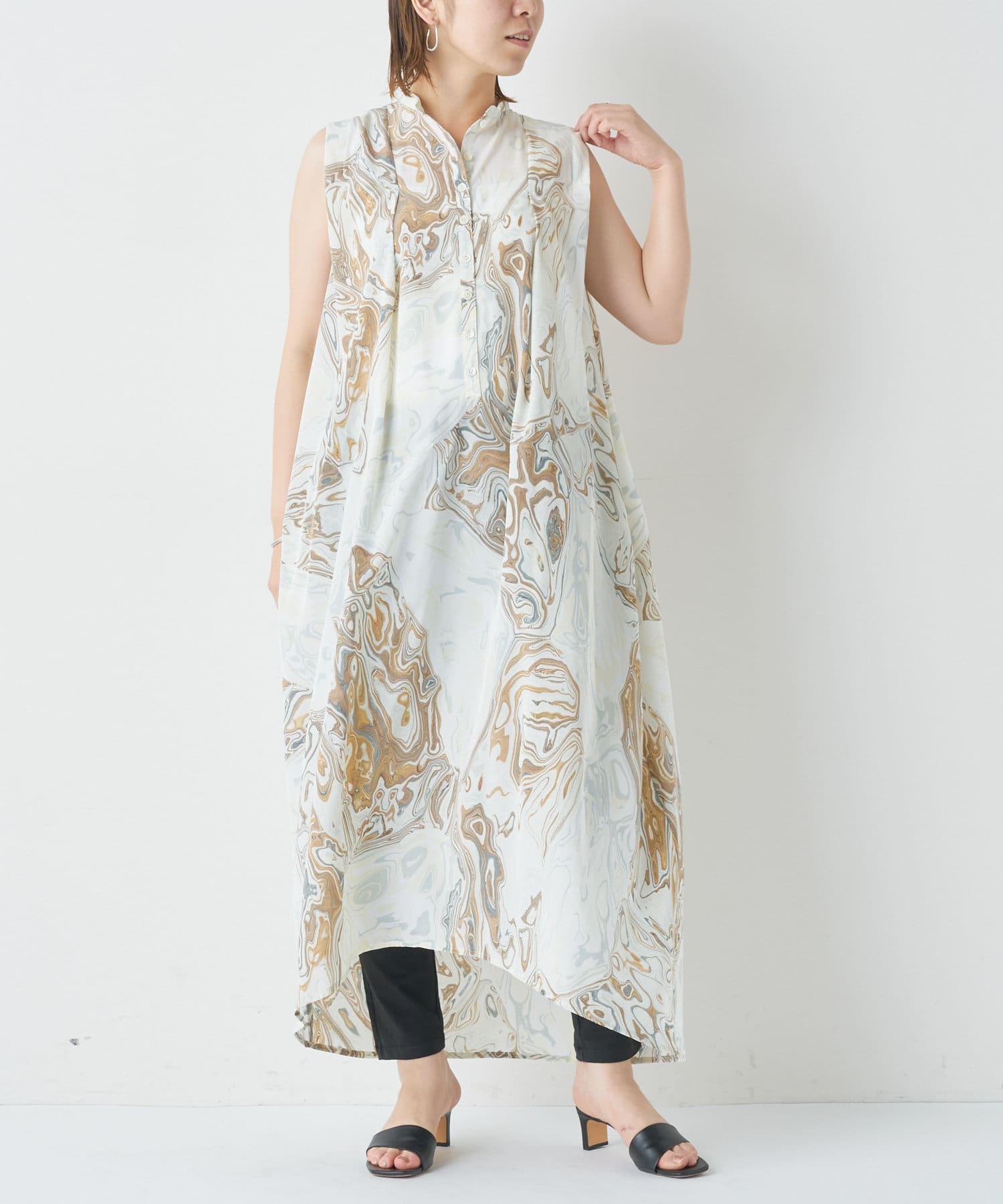 BONbazaar(ボンバザール) 《動画付き》【Dessin de Mode】京都マーブルバルーンワンピース