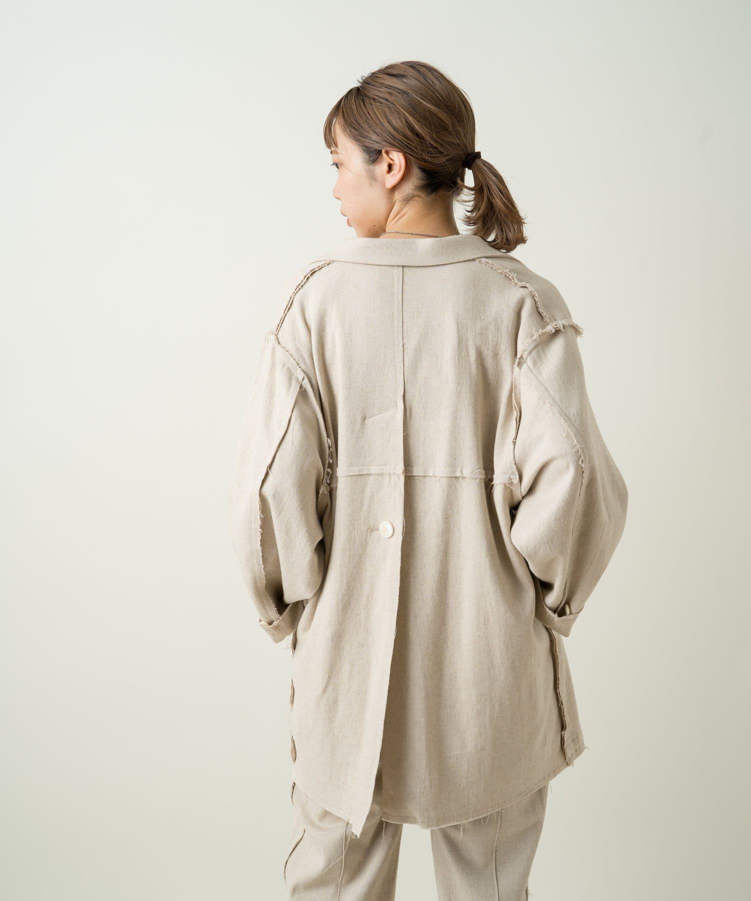 Kastane(カスタネ) ストレッチリネンパッチワークジャケット