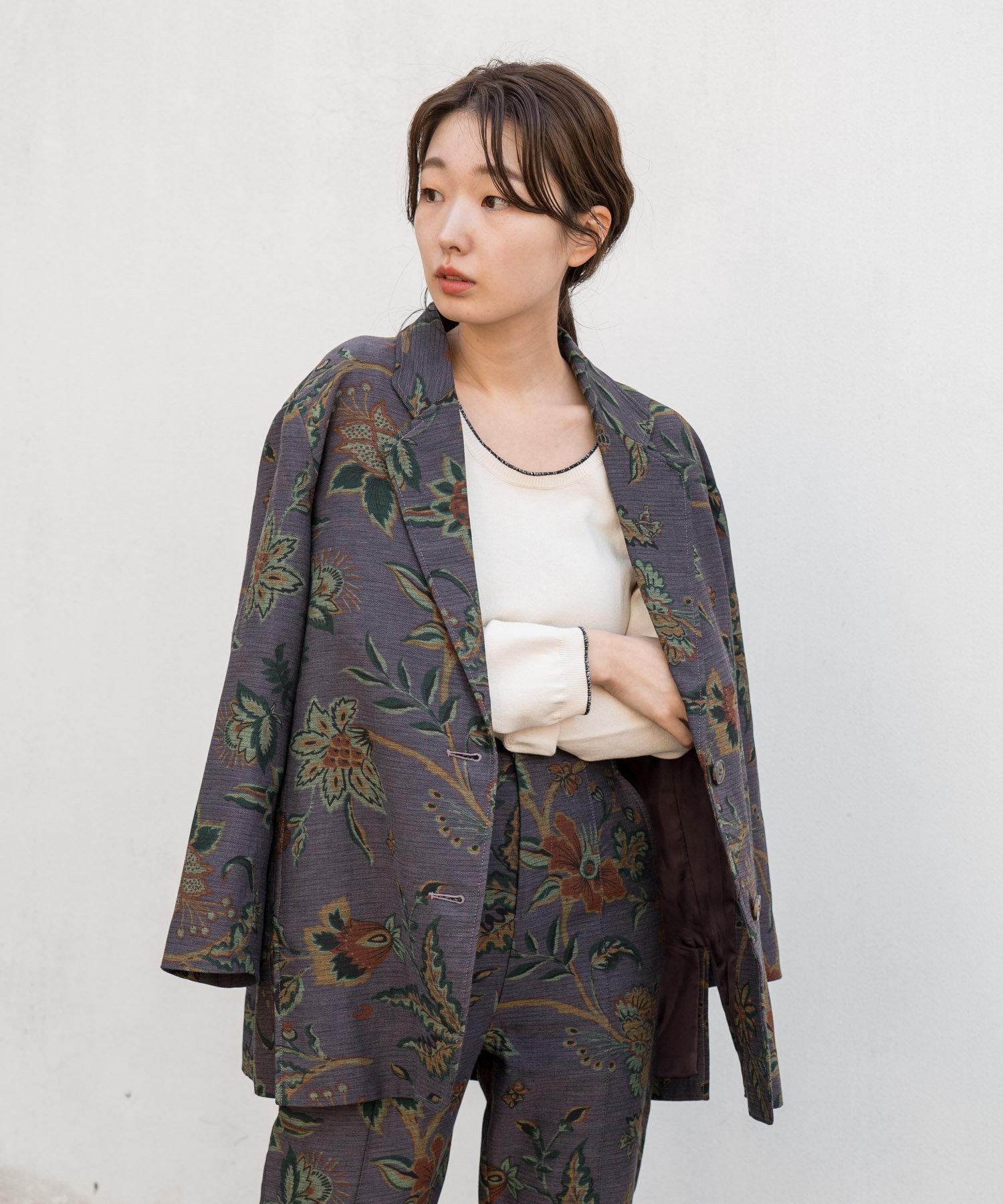 Kastane(カスタネ) ボタニカル柄ジャガードジャケット