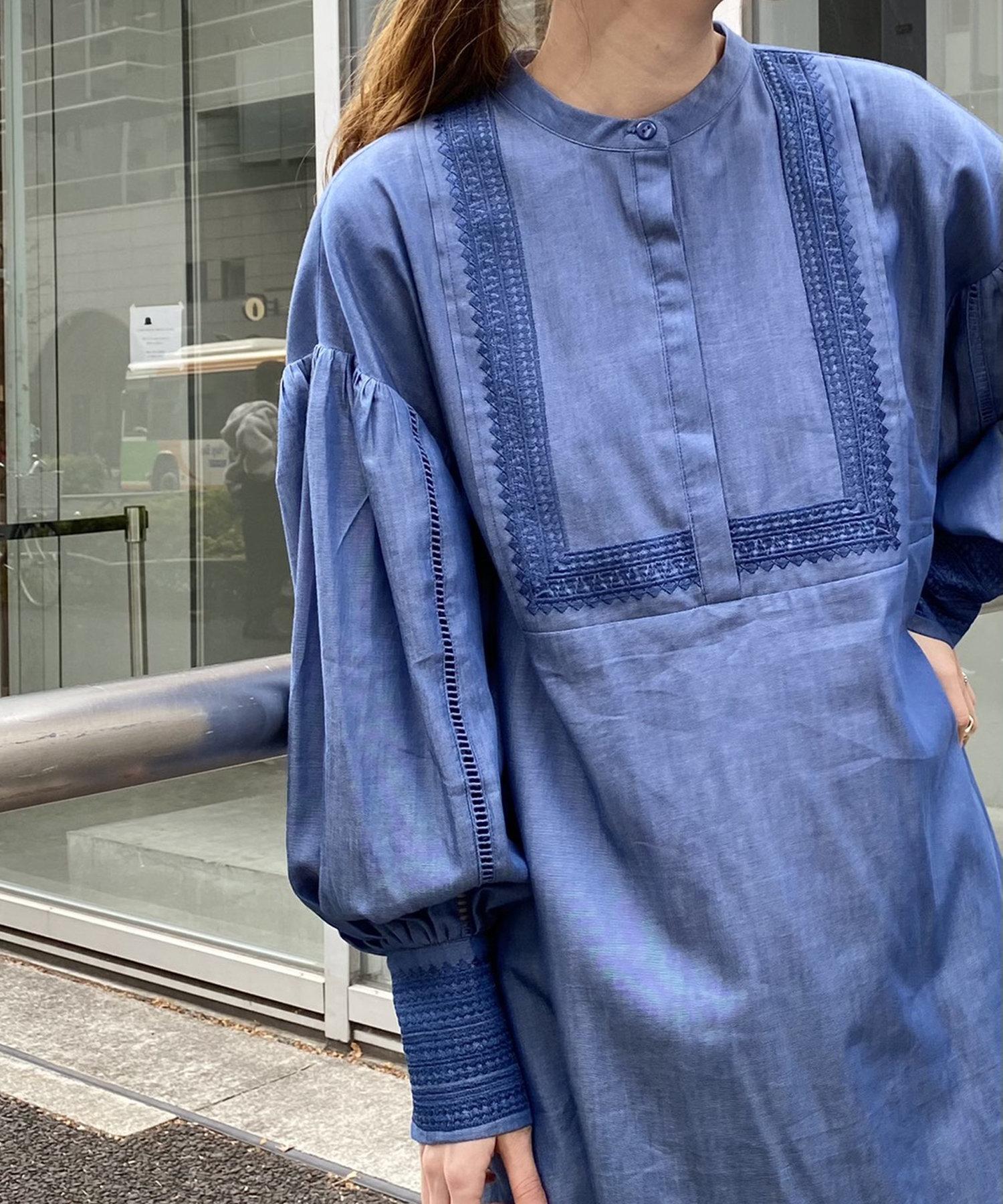 Kastane(カスタネ) レディース コットン刺繍カフタンチュニック インディゴブルー