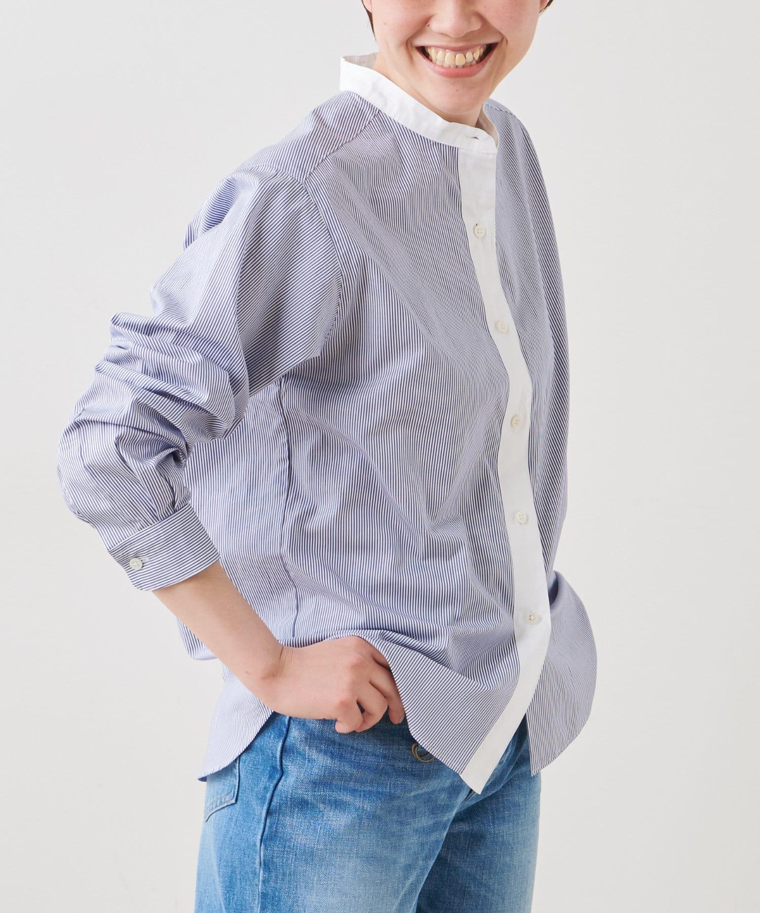 LIVETART(リヴェタート) 《STAMP AND DIARY》スタンドカラークレリックシャツ【WEB限定】