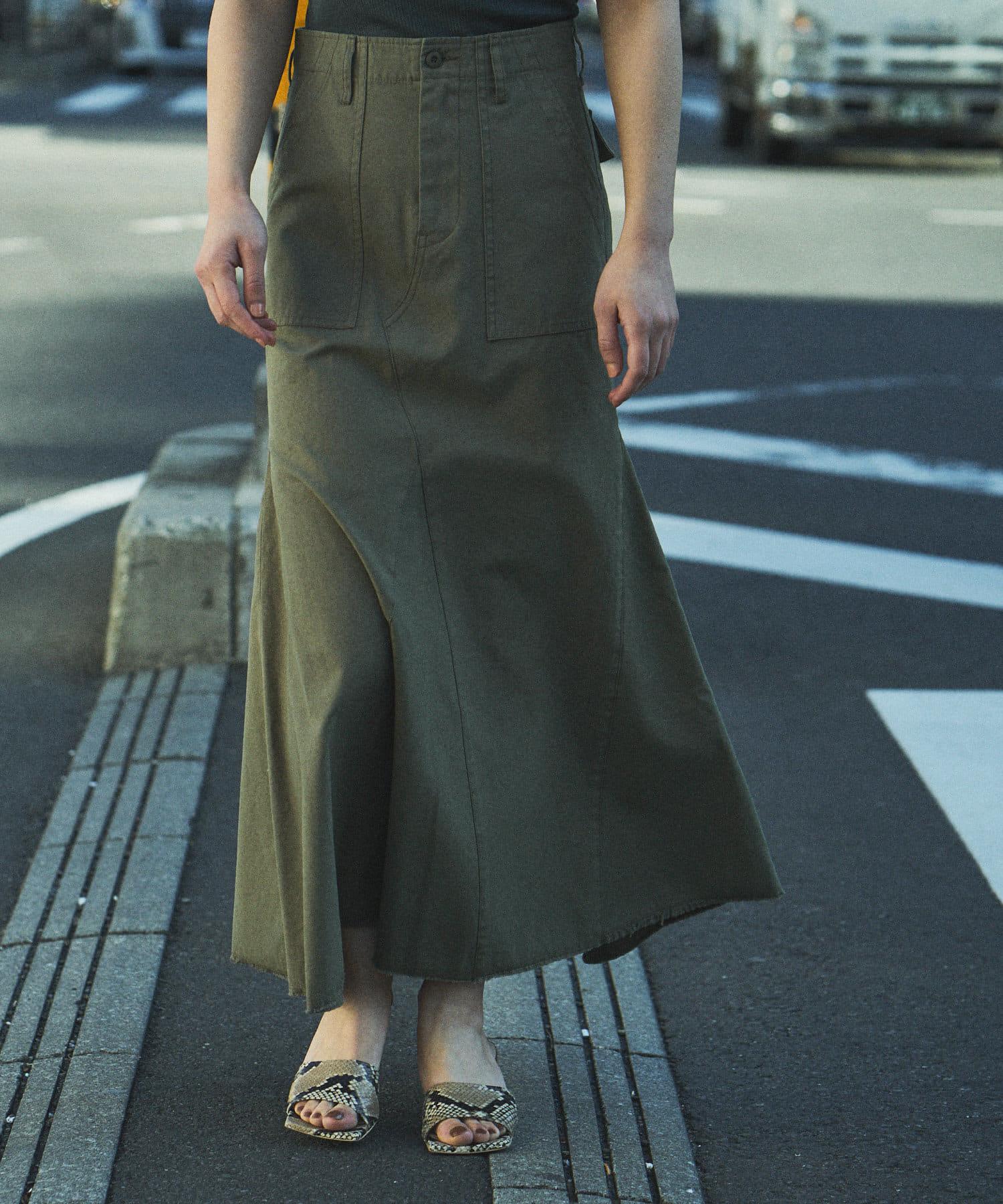 Whim Gazette(ウィム ガゼット) 【THE PAUSE】バックサテンフレアスカート