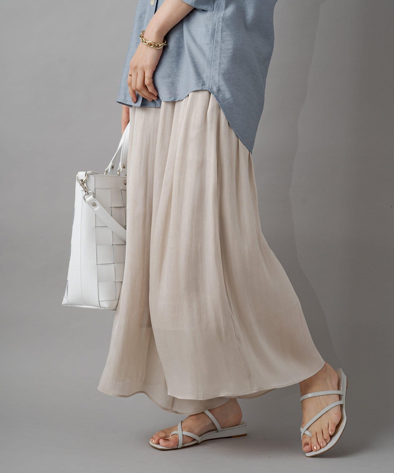 Loungedress(ラウンジドレス) 楊柳サテンフレアパンツ