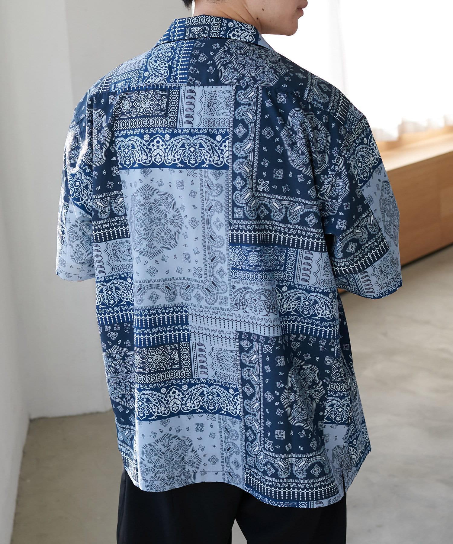 Discoat(ディスコート) ペイズリー/バンダナ柄プリント半袖シャツ