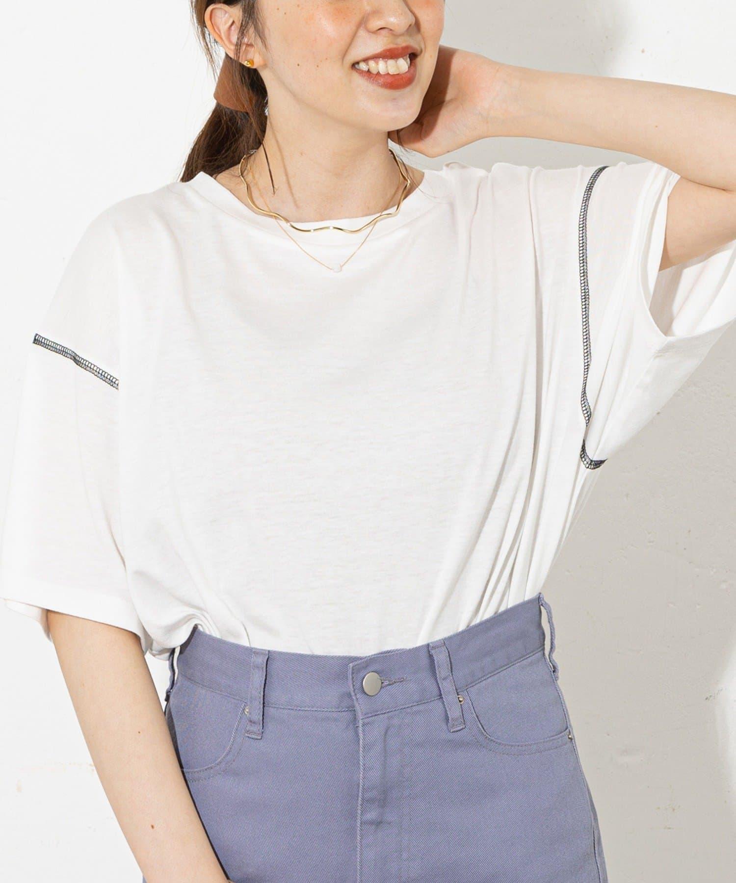 Discoat(ディスコート) レディース 【WEB限定】半袖配色ラウンドTシャツ ホワイト