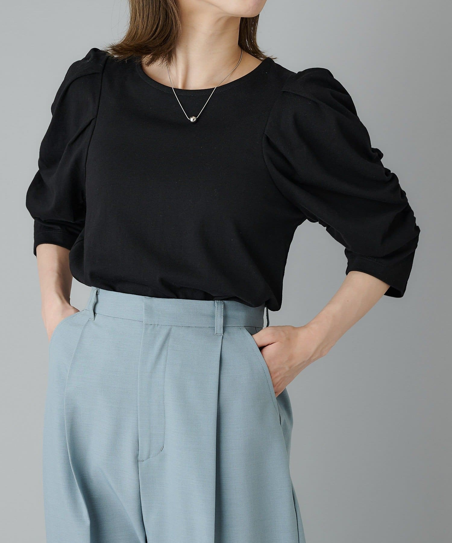CIAOPANIC(チャオパニック) バイオ天竺ギャザースリーブTシャツ