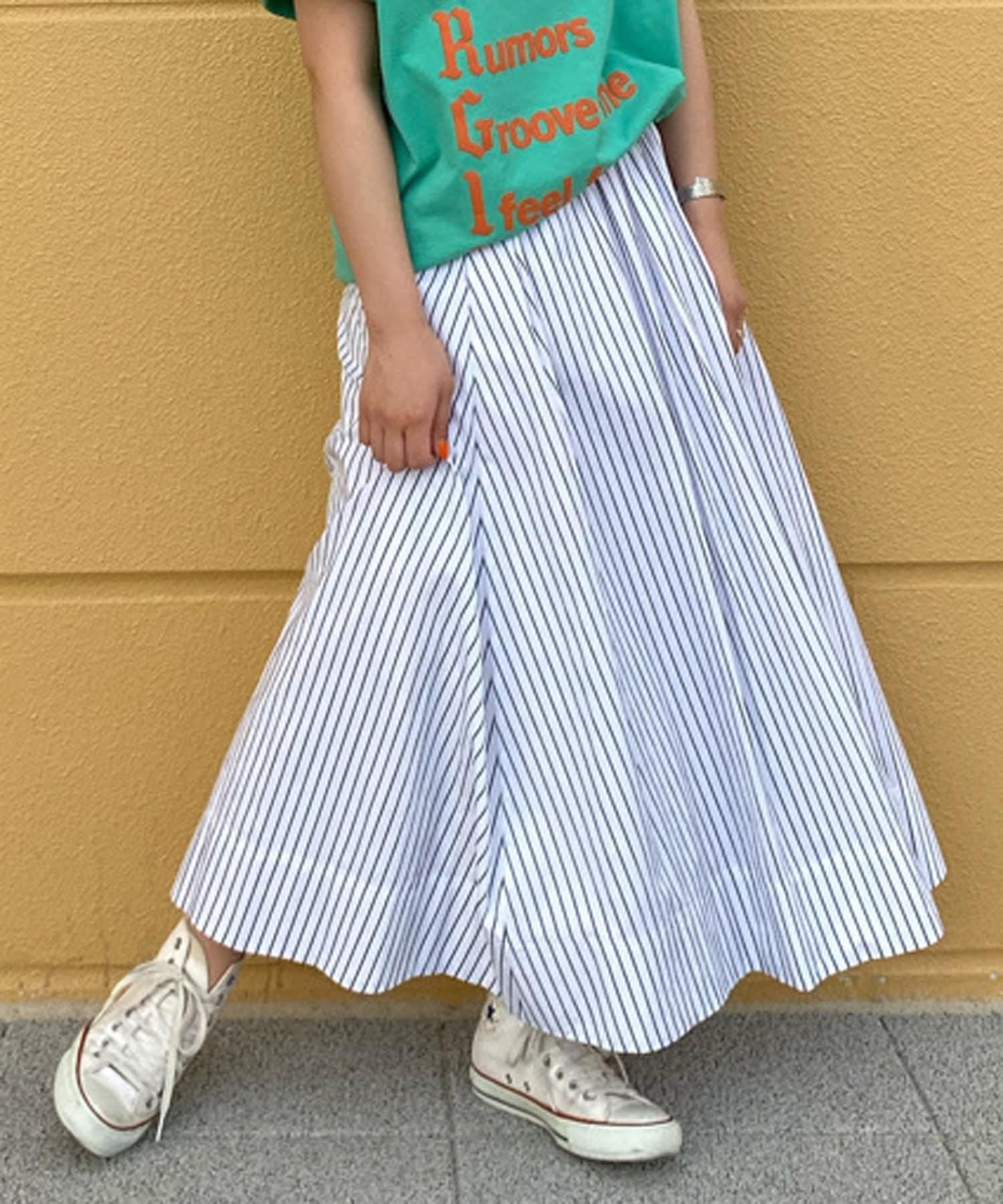 BONbazaar(ボンバザール) 《セットアップ推奨》ストライプギャザースカート