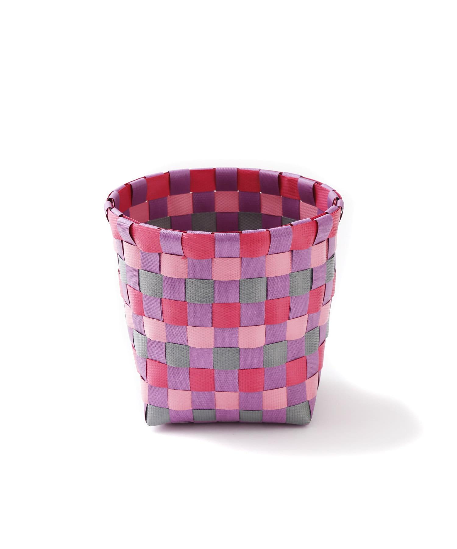 3COINS(スリーコインズ) ライフスタイル 【ASOKO】編み込みボックス(Mサイズ) ピンク