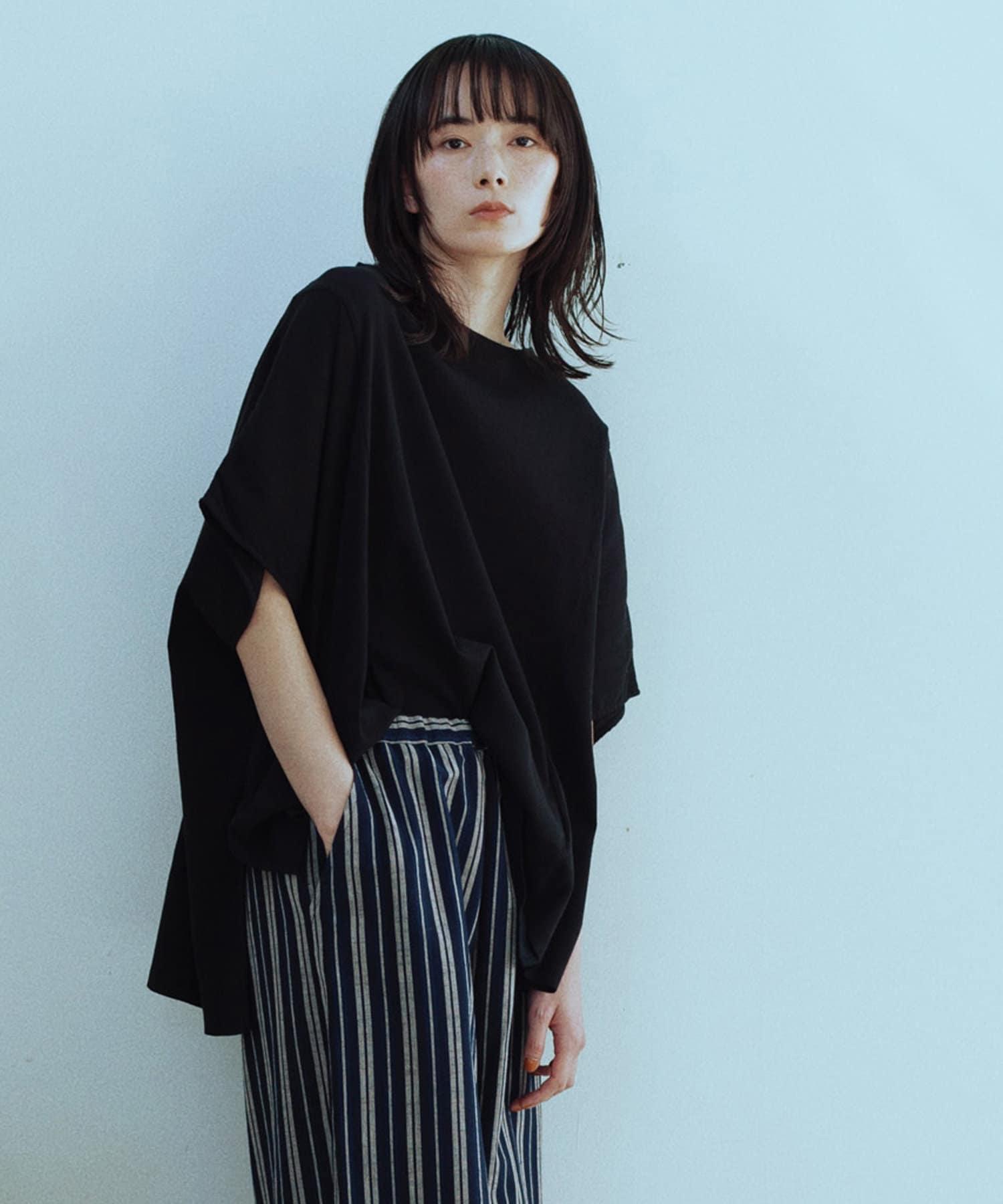 GALLARDAGALANTE(ガリャルダガランテ) レディース 【CASA】ピケ製品染めビッグTシャツ ブラック