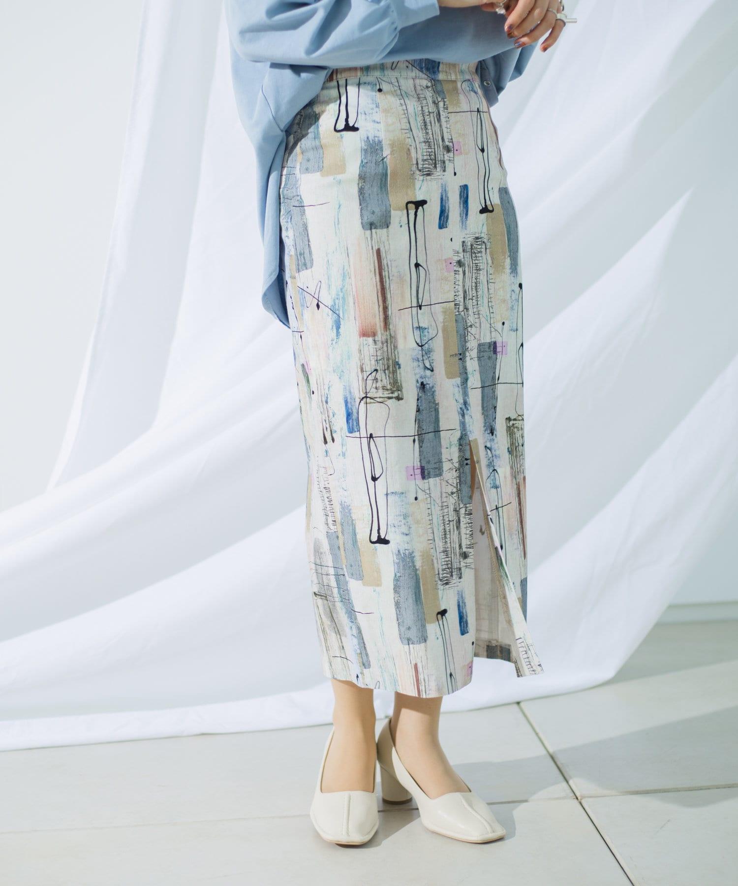 mona Belinda(モナ ベリンダ) ペイント柄タイトスカート