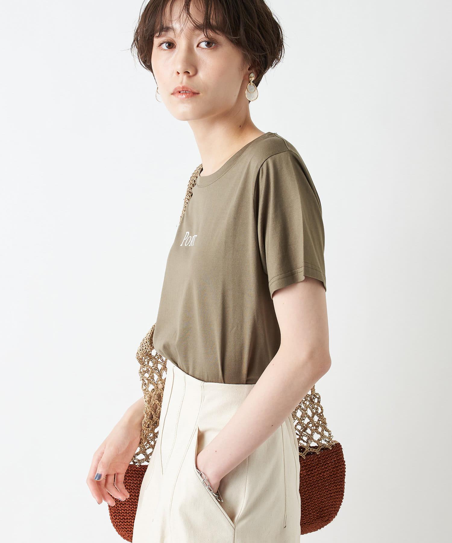 un dix cors(アンディコール) レディース 【大人が着やすいロゴカットソー】PORTプリントTシャツ カーキ