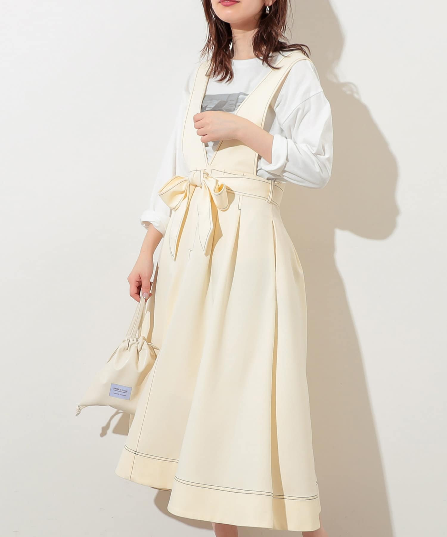 natural couture(ナチュラルクチュール) 配色ステッチ2WAYジャンスカ