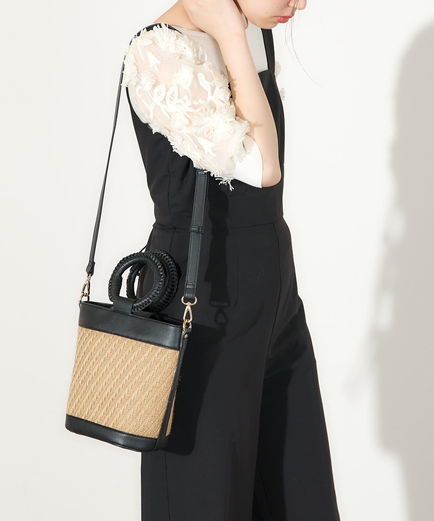 natural couture(ナチュラルクチュール) かがりハンドルバケツバッグ