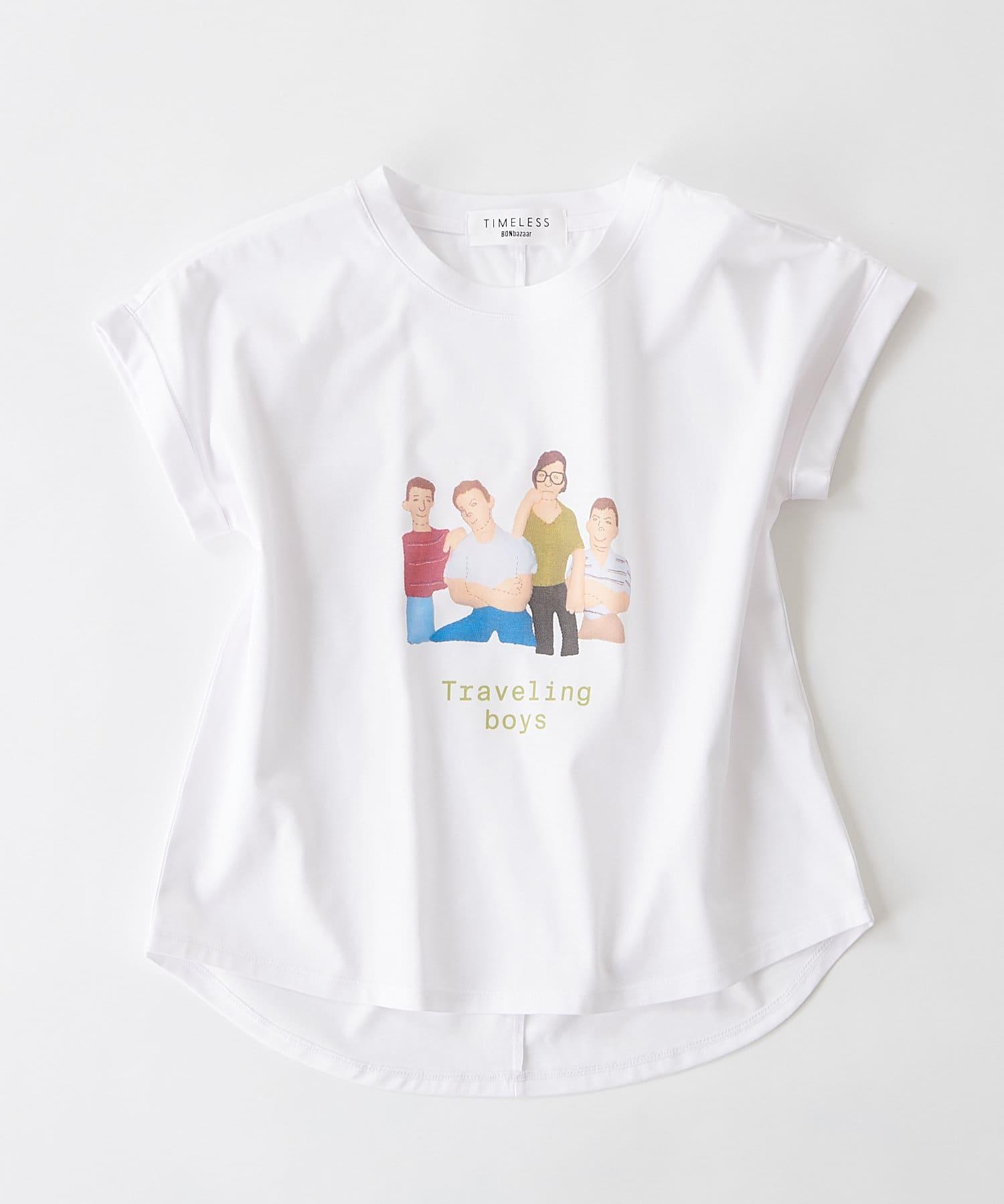 BONbazaar(ボンバザール) レディース 《長谷川 有里's キャラクター》Tシャツ Traveling Boys ホワイト