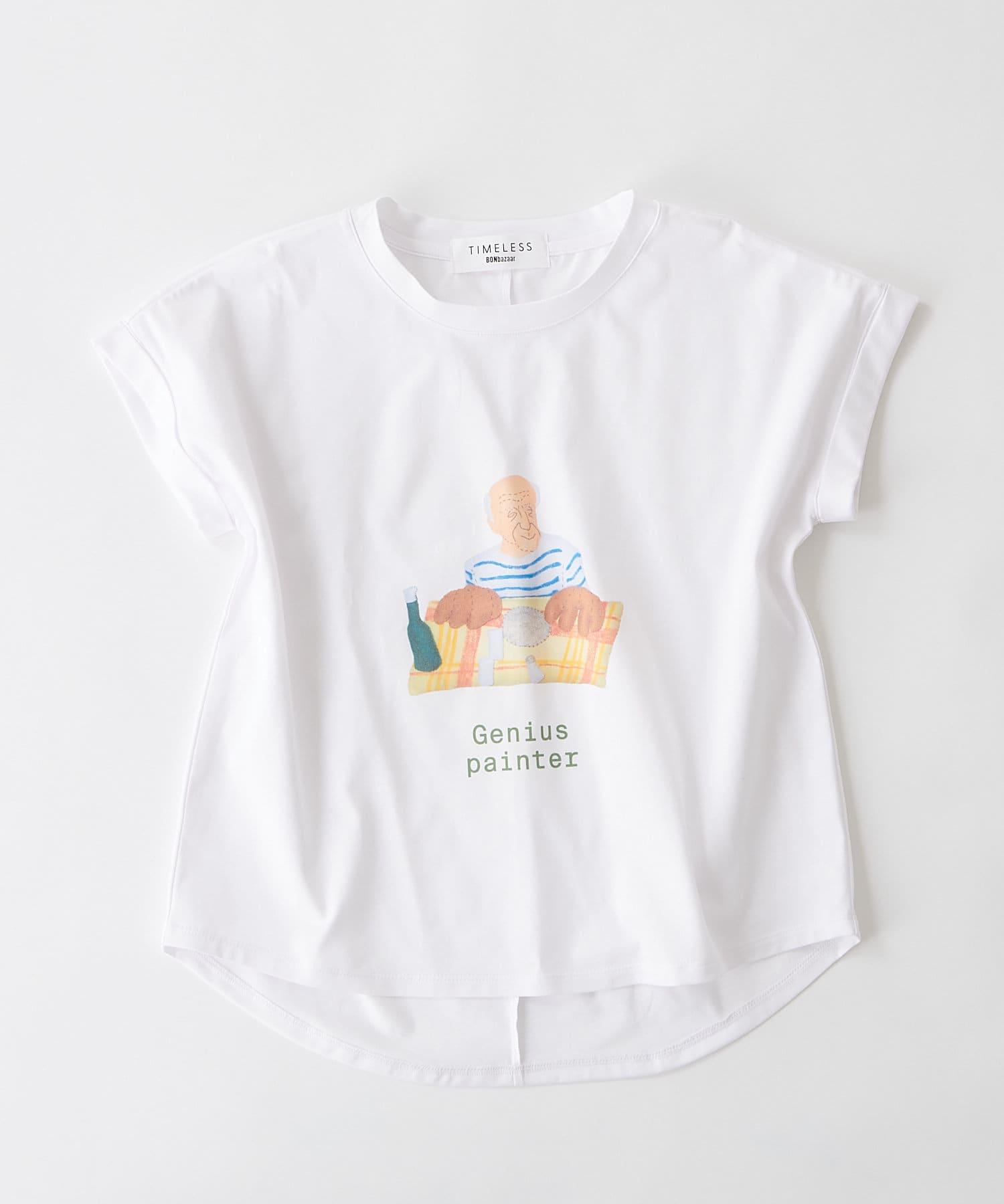 BONbazaar(ボンバザール) レディース 《長谷川 有里's キャラクター》Tシャツ Genius Painter ホワイト
