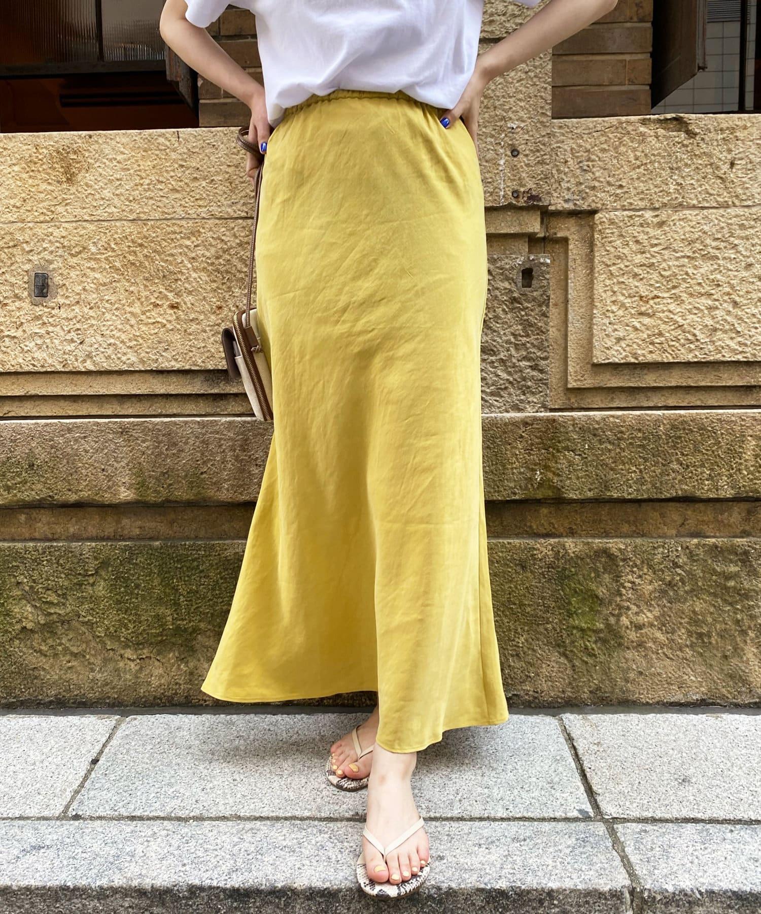 DOUDOU(ドゥドゥ) 【追加予約】【追加カラー】麻混ソフトマーメイドスカート