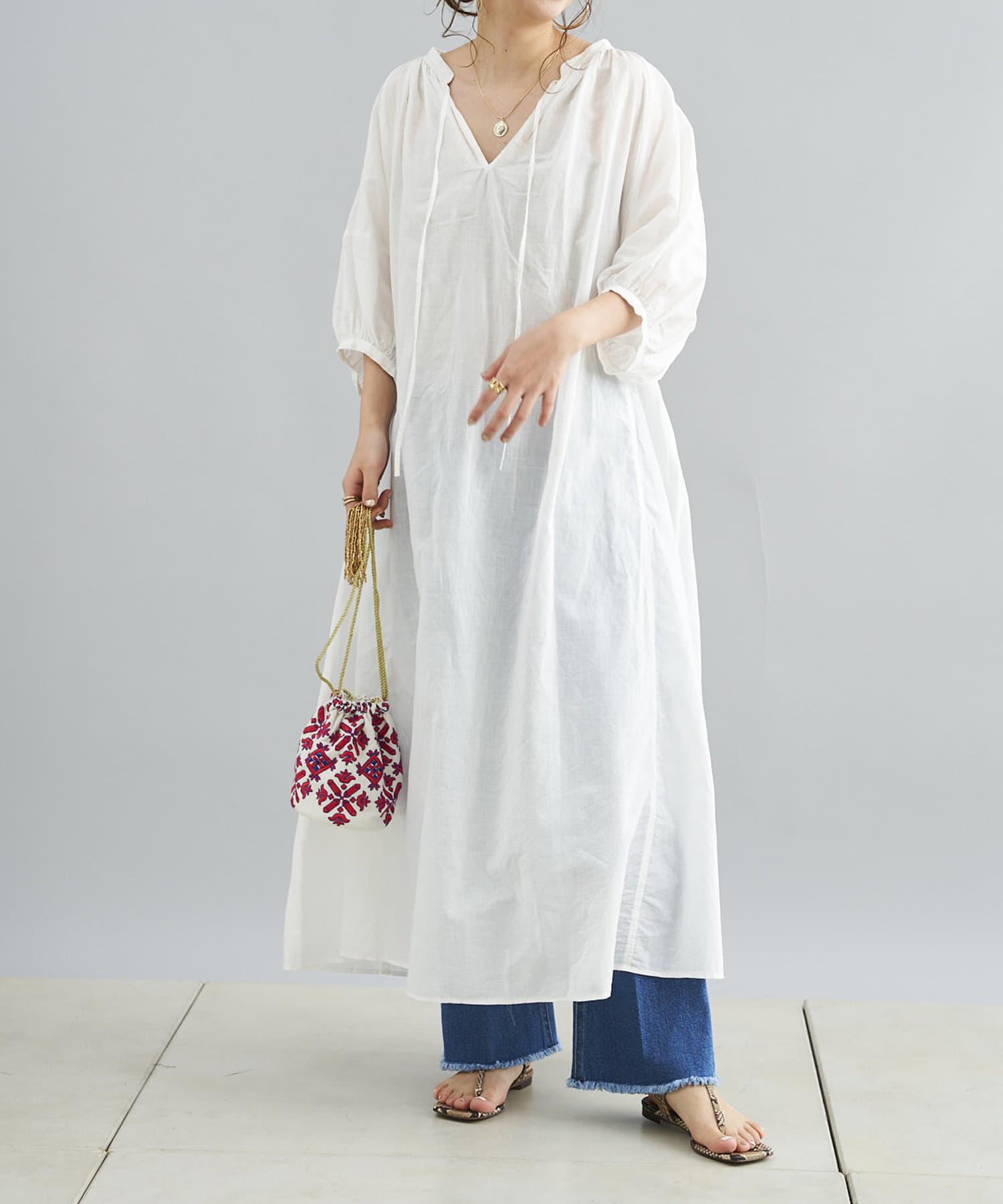 DOUDOU(ドゥドゥ) 袖切替カフタンワンピース