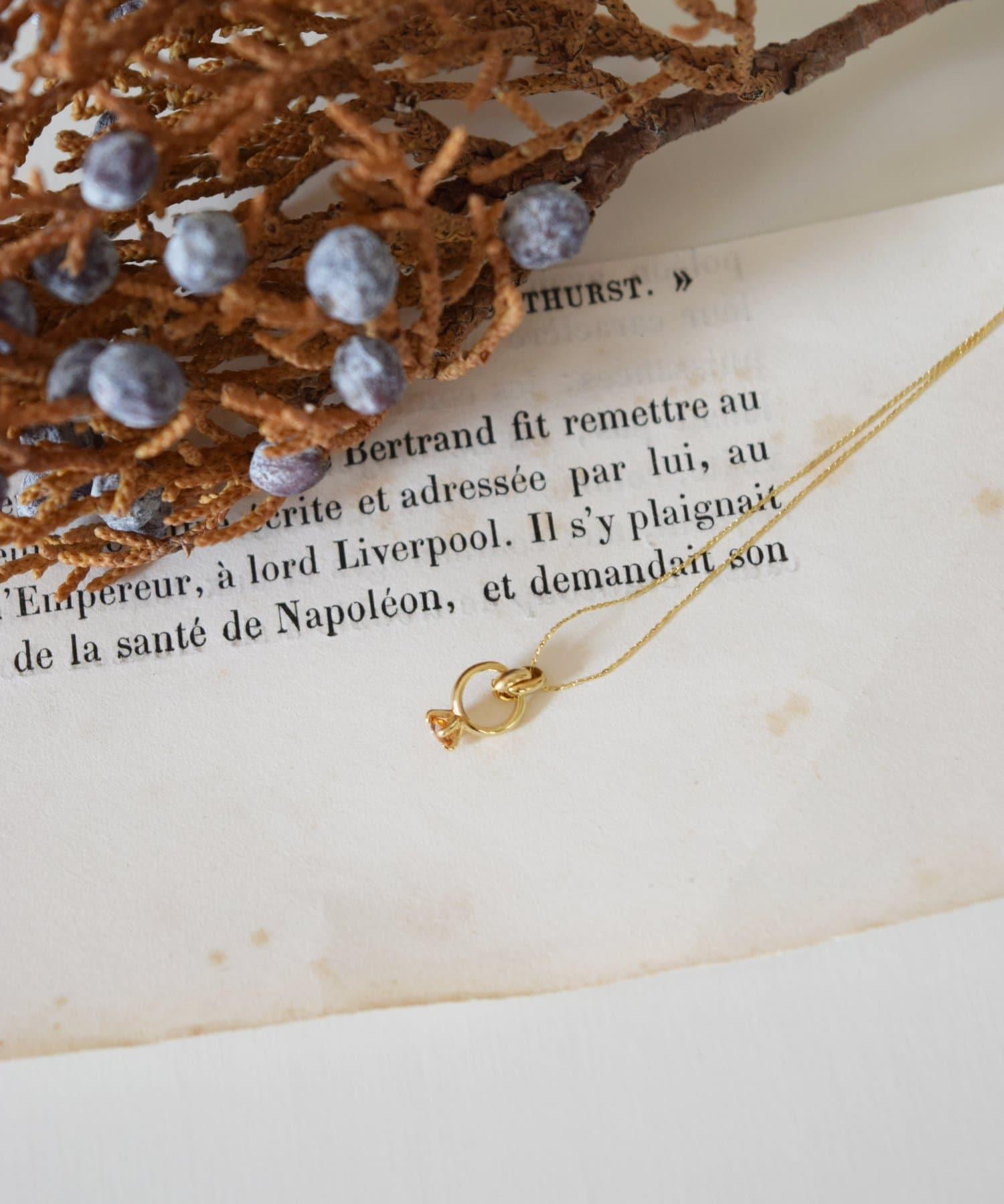 BIRTHDAY BAR(バースデイバー) レディース Birthstone Petit Ring Necklace 誕生石ネックレス イエロー