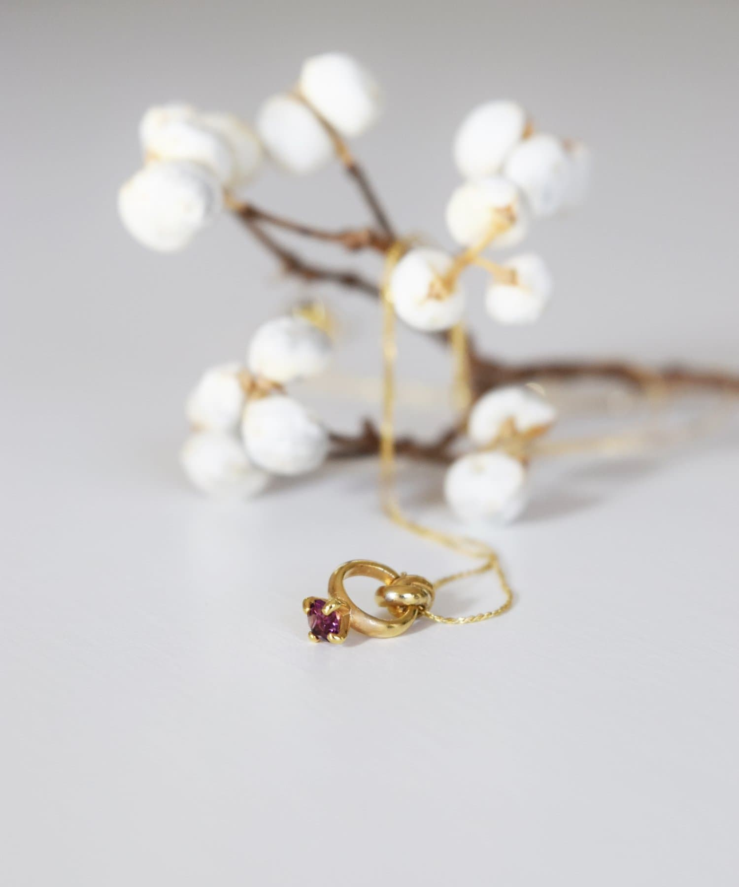 BIRTHDAY BAR(バースデイバー) レディース Birthstone Petit Ring Necklace 誕生石ネックレス パープル