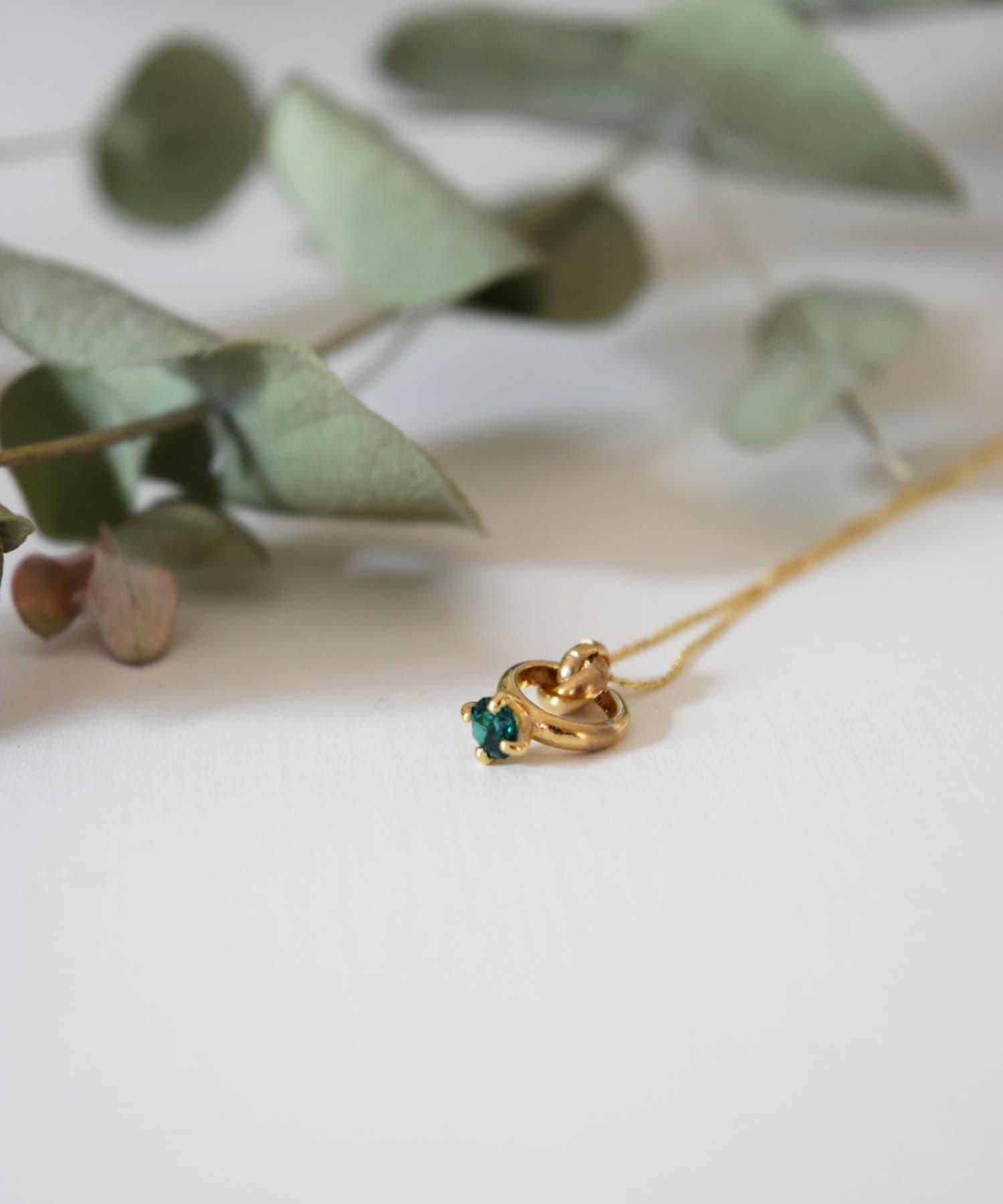 BIRTHDAY BAR(バースデイバー) レディース Birthstone Petit Ring Necklace 誕生石ネックレス グリーン