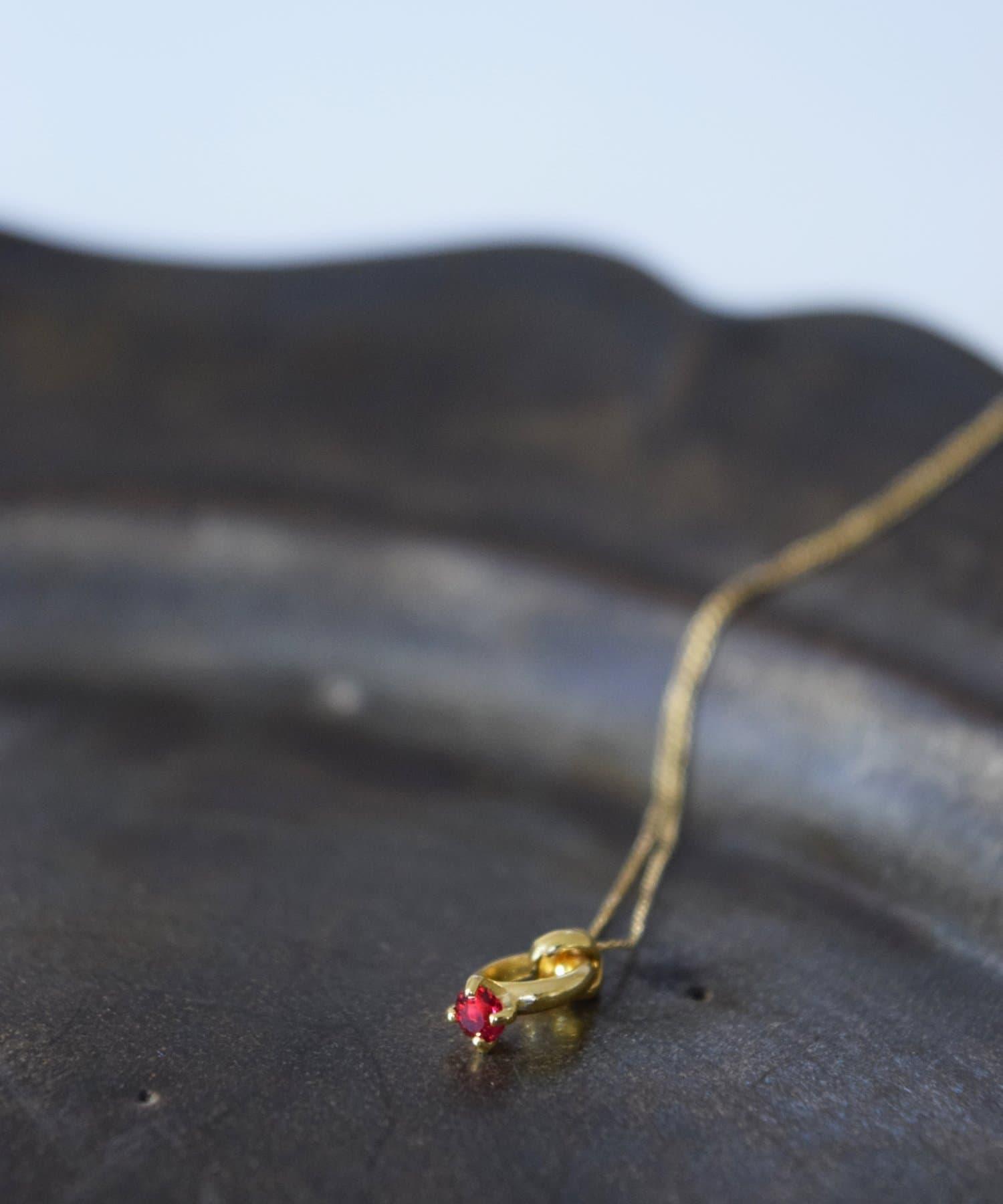 BIRTHDAY BAR(バースデイバー) レディース Birthstone Petit Ring Necklace 誕生石ネックレス ピンク