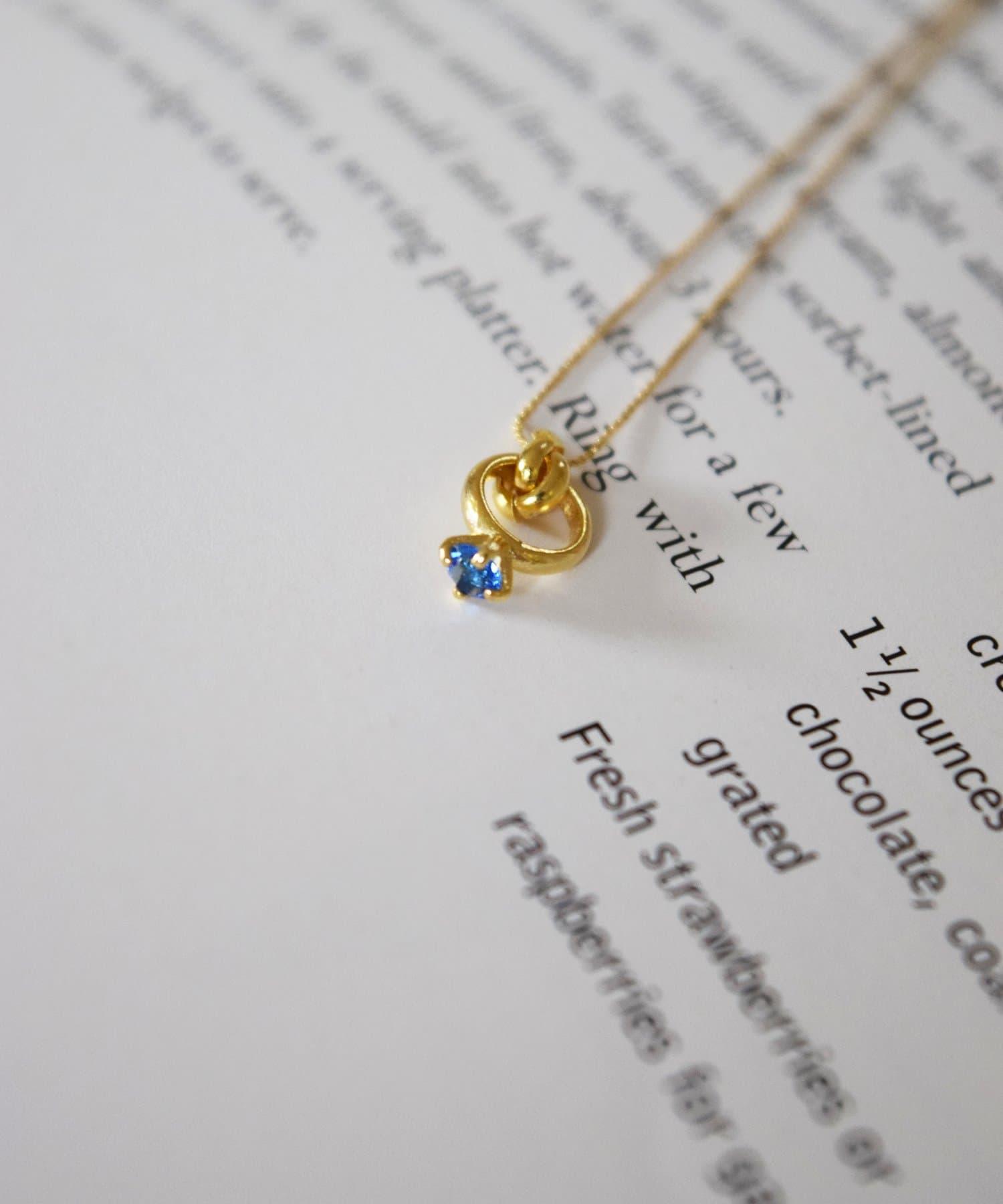 BIRTHDAY BAR(バースデイバー) レディース Birthstone Petit Ring Necklace 誕生石ネックレス ロイヤルブルー