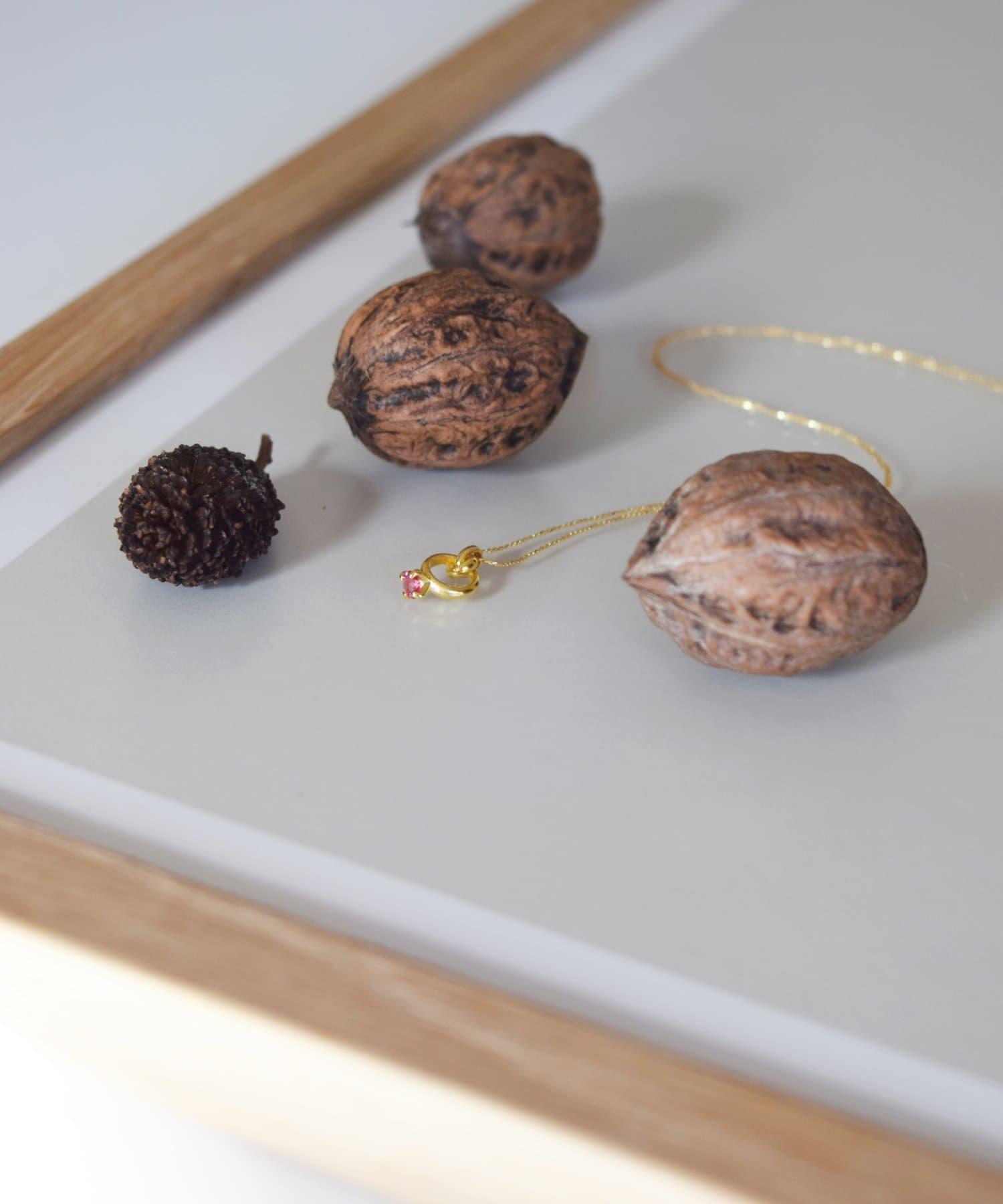 BIRTHDAY BAR(バースデイバー) レディース Birthstone Petit Ring Necklace 誕生石ネックレス サーモンピンク