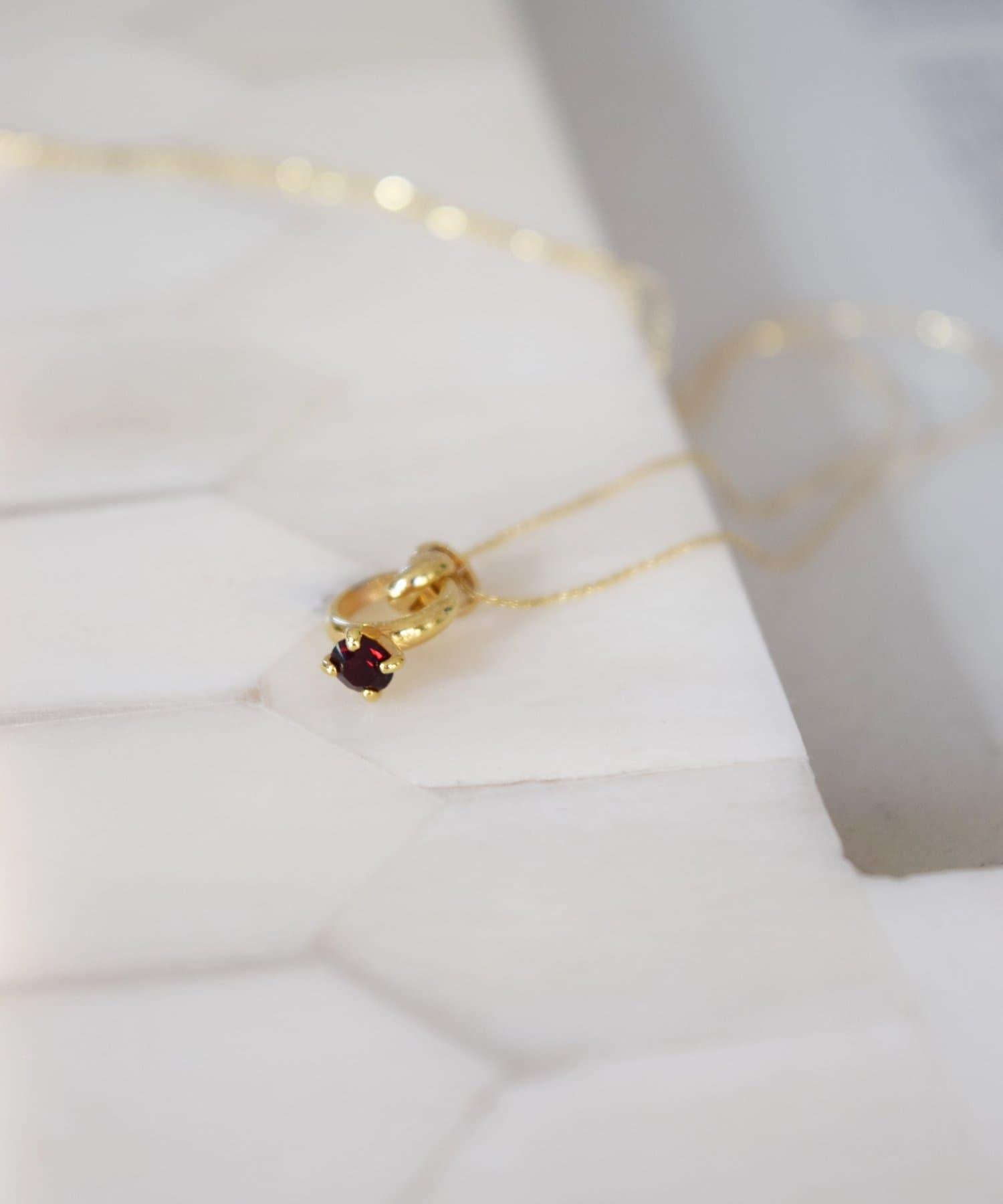 BIRTHDAY BAR(バースデイバー) レディース Birthstone Petit Ring Necklace 誕生石ネックレス レッド
