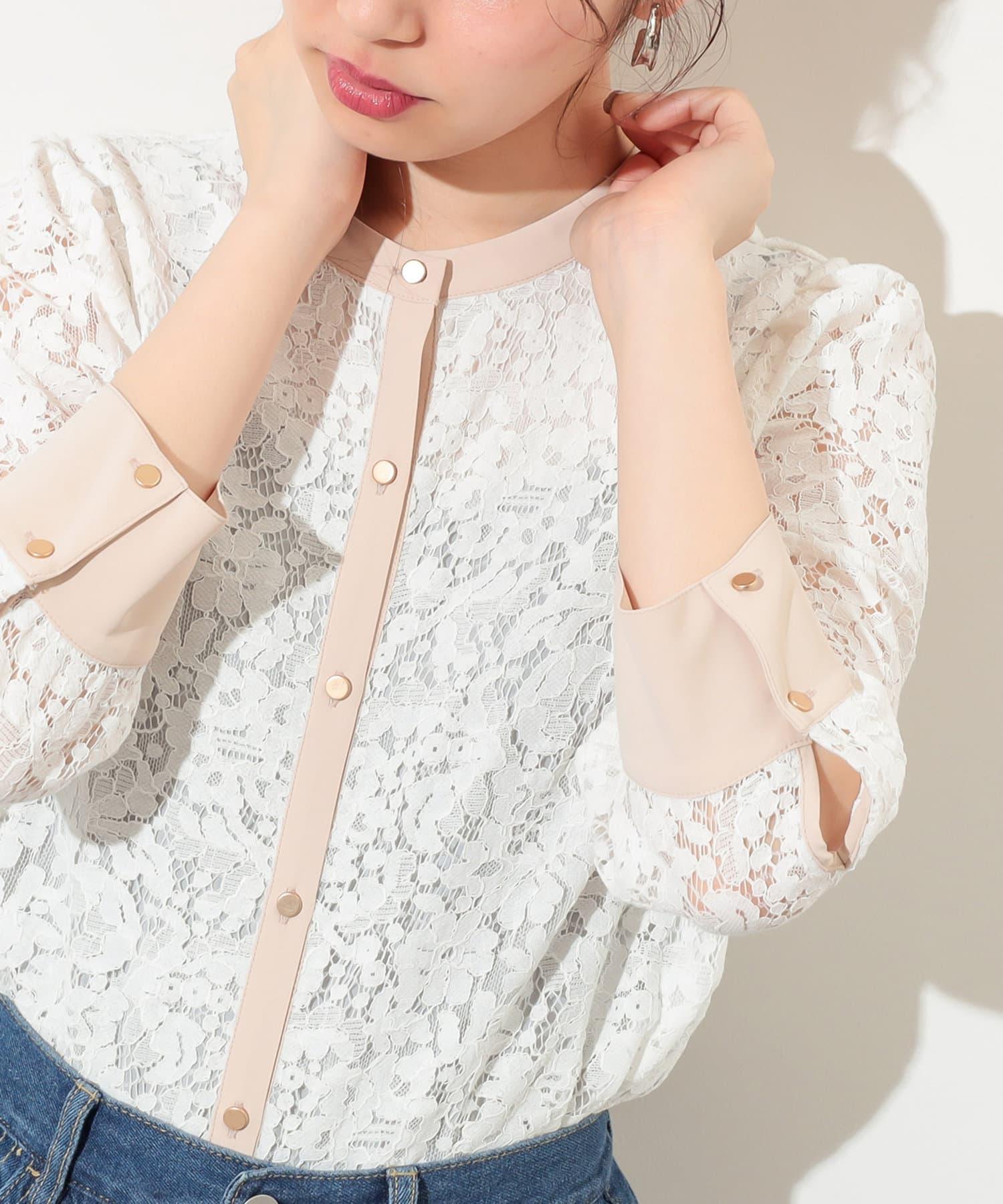 natural couture(ナチュラルクチュール) 【WEB限定カラー有り】前後2WAYバンドカラーレースブラウス