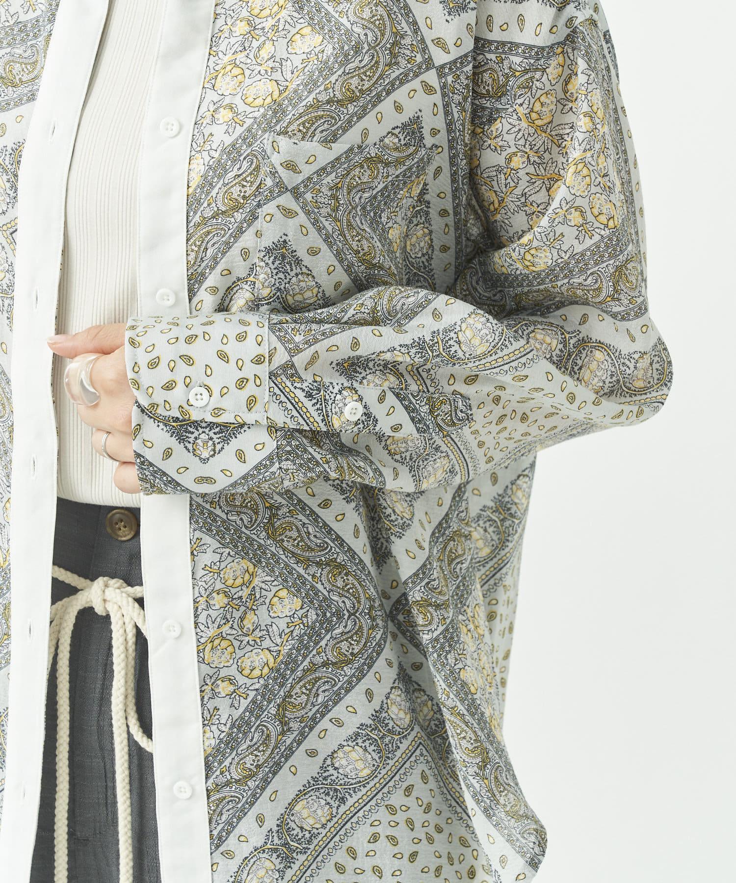 CPCM(シーピーシーエム) 配色シアーペイズリーシャツ