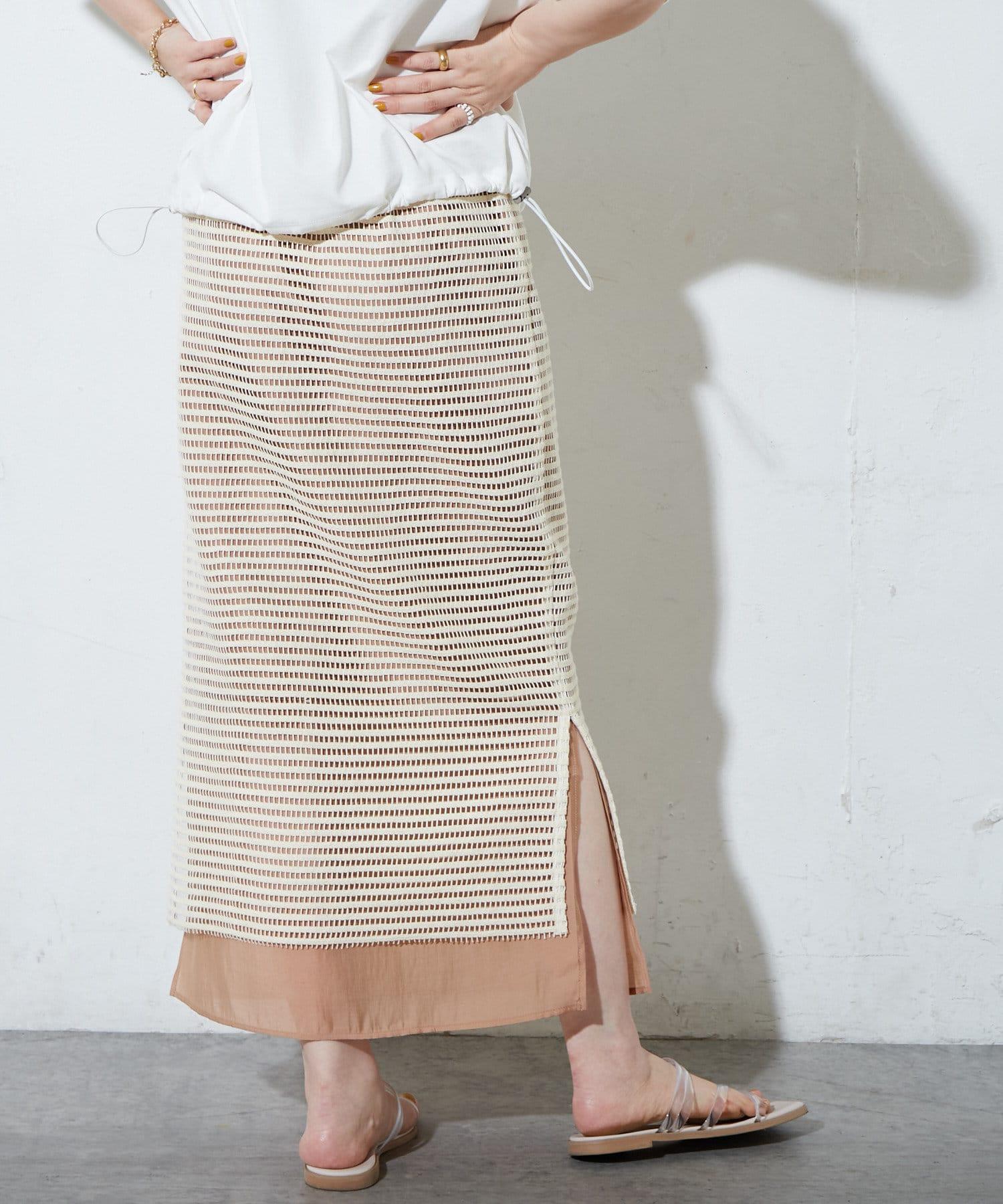 Discoat(ディスコート) レディース メッシュレイヤードナロースカート ブラウン