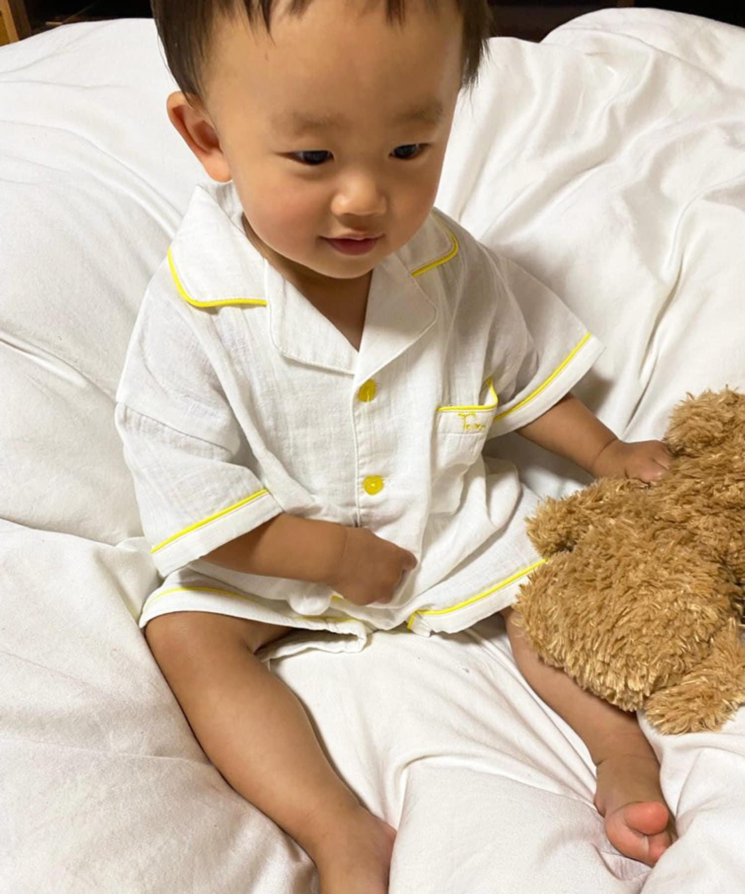 TERRITOIRE(テリトワール) キッズ 【KIDS 初登場!】オーガニックコットンしあわせWガーゼパジャマセット ホワイト